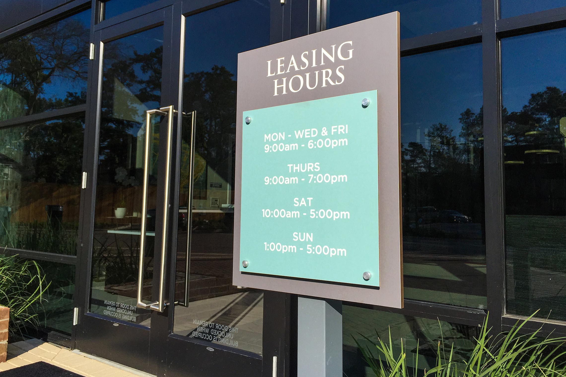 Aura Memorial Leasing Office Hours with Stand-Offs
