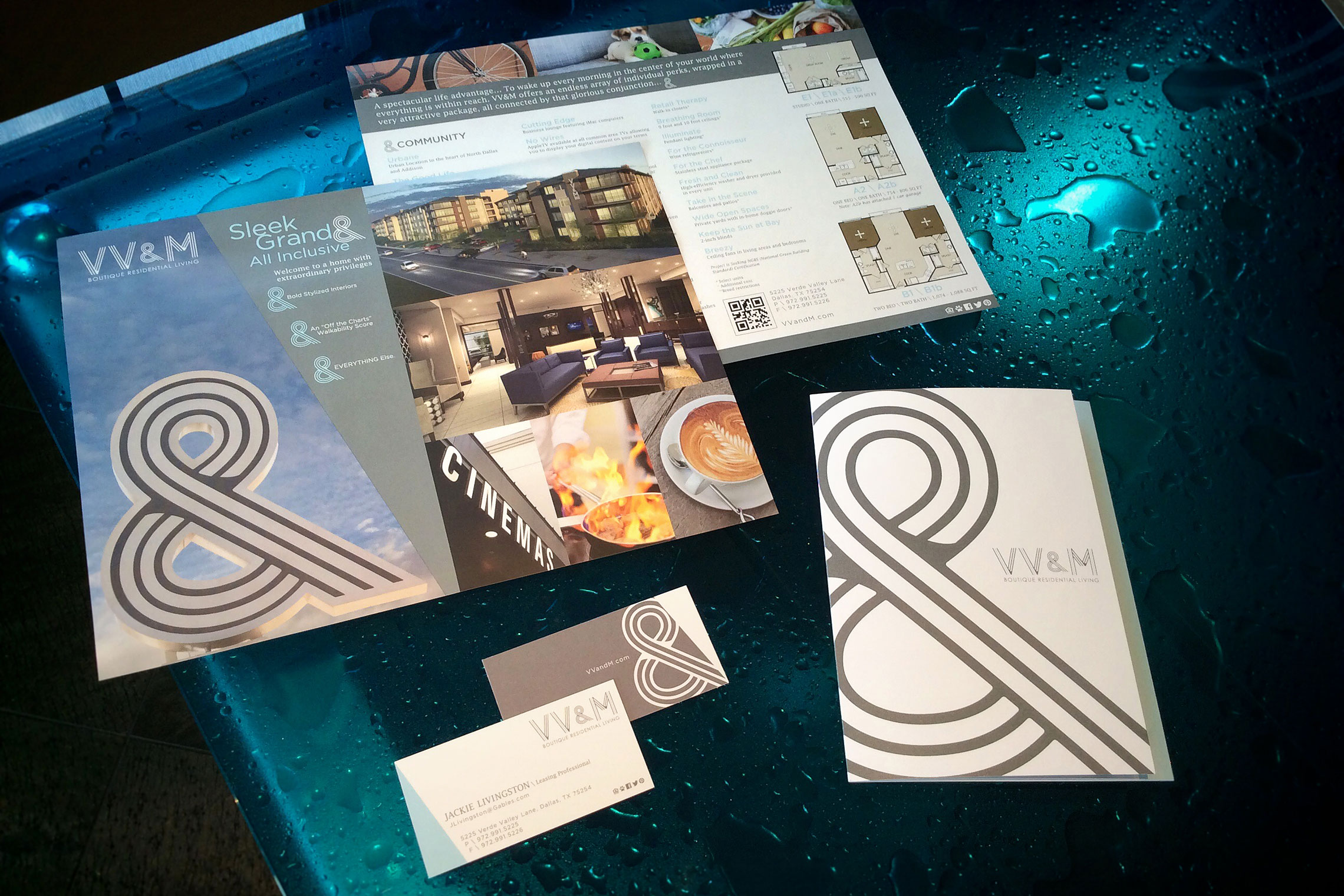 VV&M Boutique Residential Living Custom Collateral - Flyer, Amenity Tri-Panel Brochure and Slim Cut Business Card