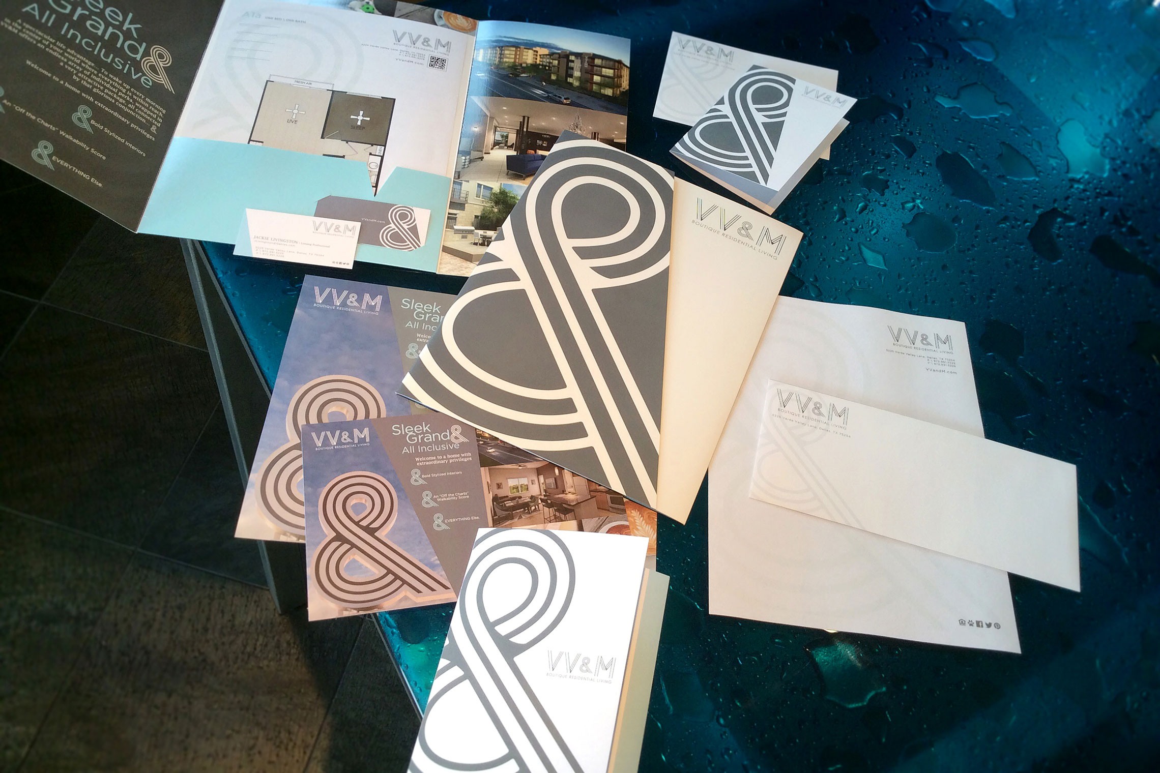 VV&M Boutique Residential Living Custom Collateral - Flyer, Amenity Tri-Panel Brochure and Business Card