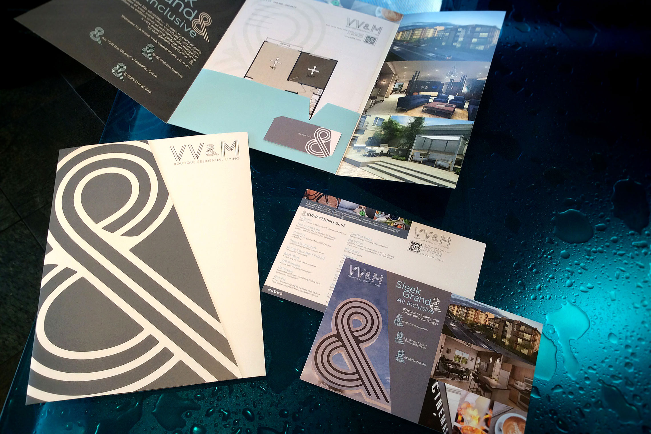 VV&M Boutique Residential Living Custom Collateral - Pocket Folder with Floor Plan Inserts, Thank You Note Card, Flyer, Postcard, Amenity Tri-Panel Brochure, Letterhead and Envelope