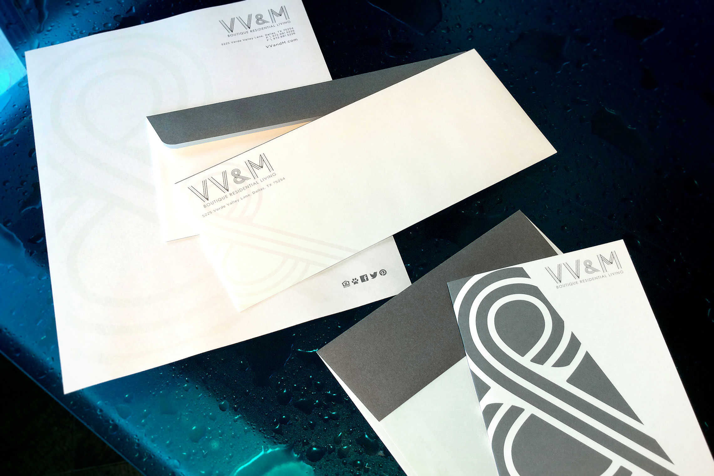VV&M Boutique Residential Living Custom Collateral - Pocket Folder with Floor Plan Inserts and Slim Business Card Slit