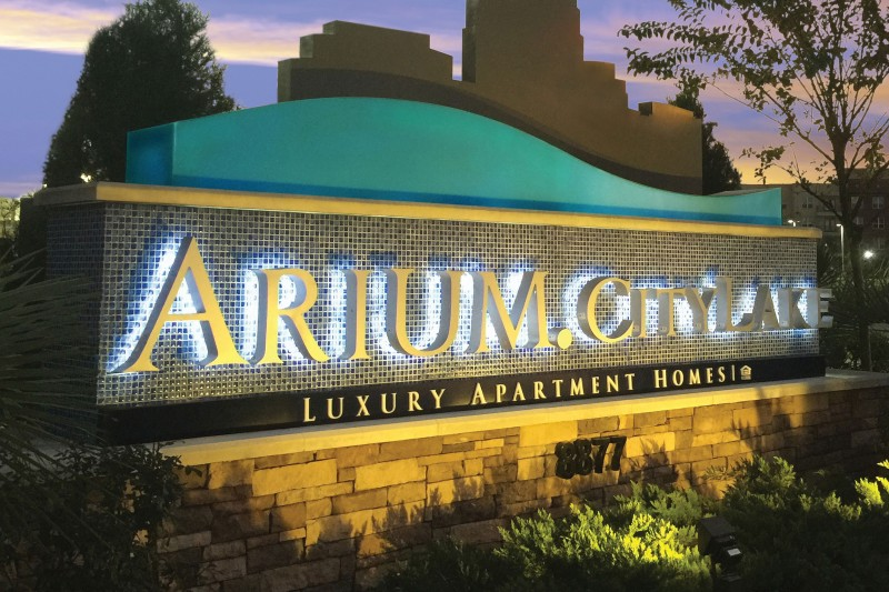 Arium CityLake Luxury Apartment Homes LED Illuminated Monument with Tiles Night