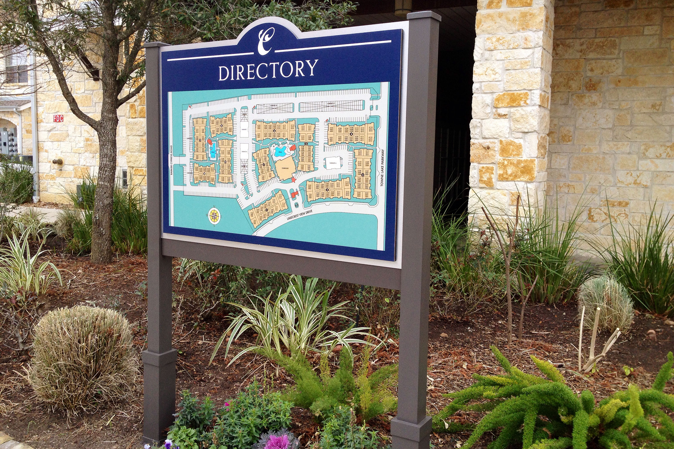 Arium Site Plan Directory Sign on Post