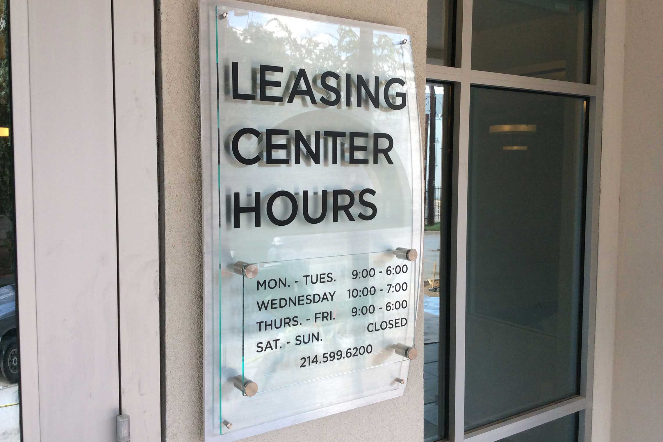 Echo City Apartments Leasing Center Hours with Stand-Offs