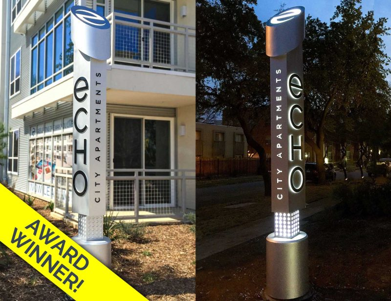 Echo Illuminated Edgy Identity Monument Day and Night