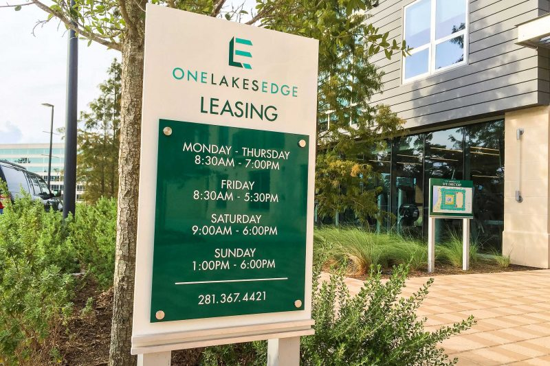 One Lakes Edge Upscale Modern Residential Apartments Aluminum Office Center Hours with Stand-Offs and Directory on Post