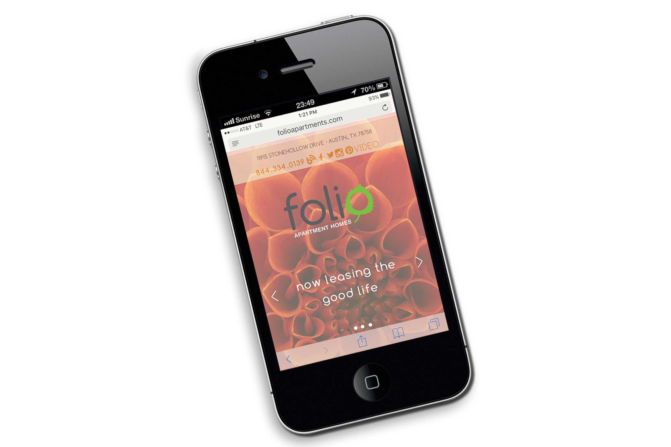 Folio Apartment Responsive Web Design on Mobile Cell Phone