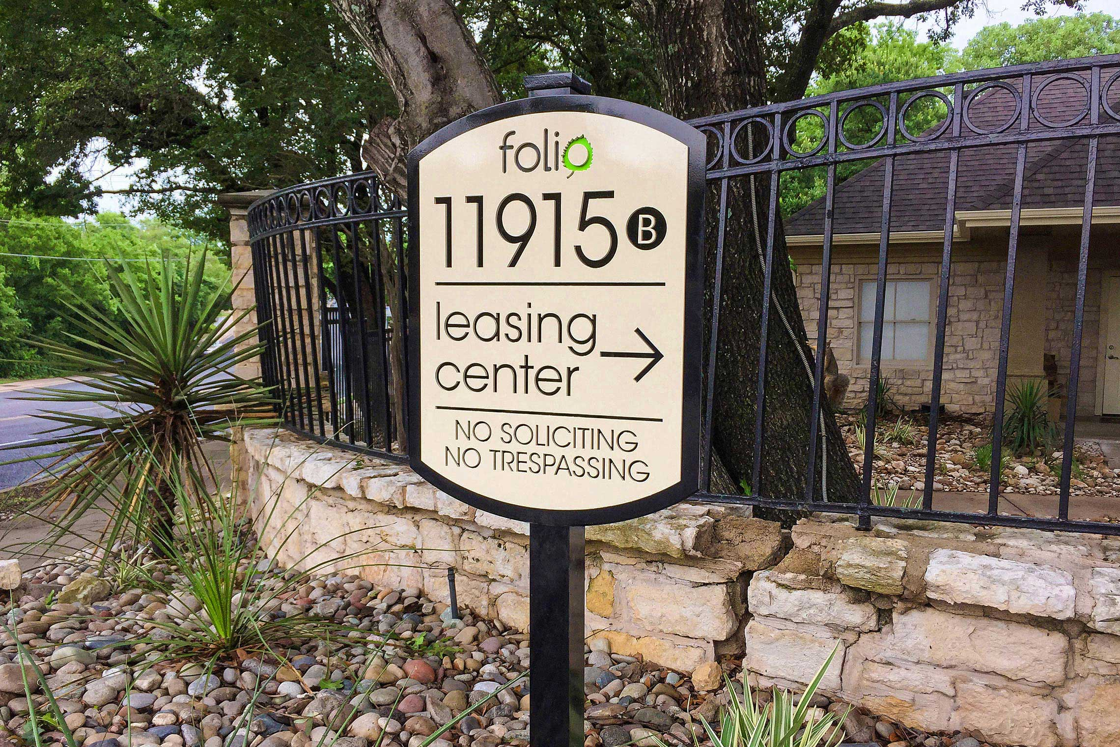 Folio Apartment Homes Leasing Center Directional on Post
