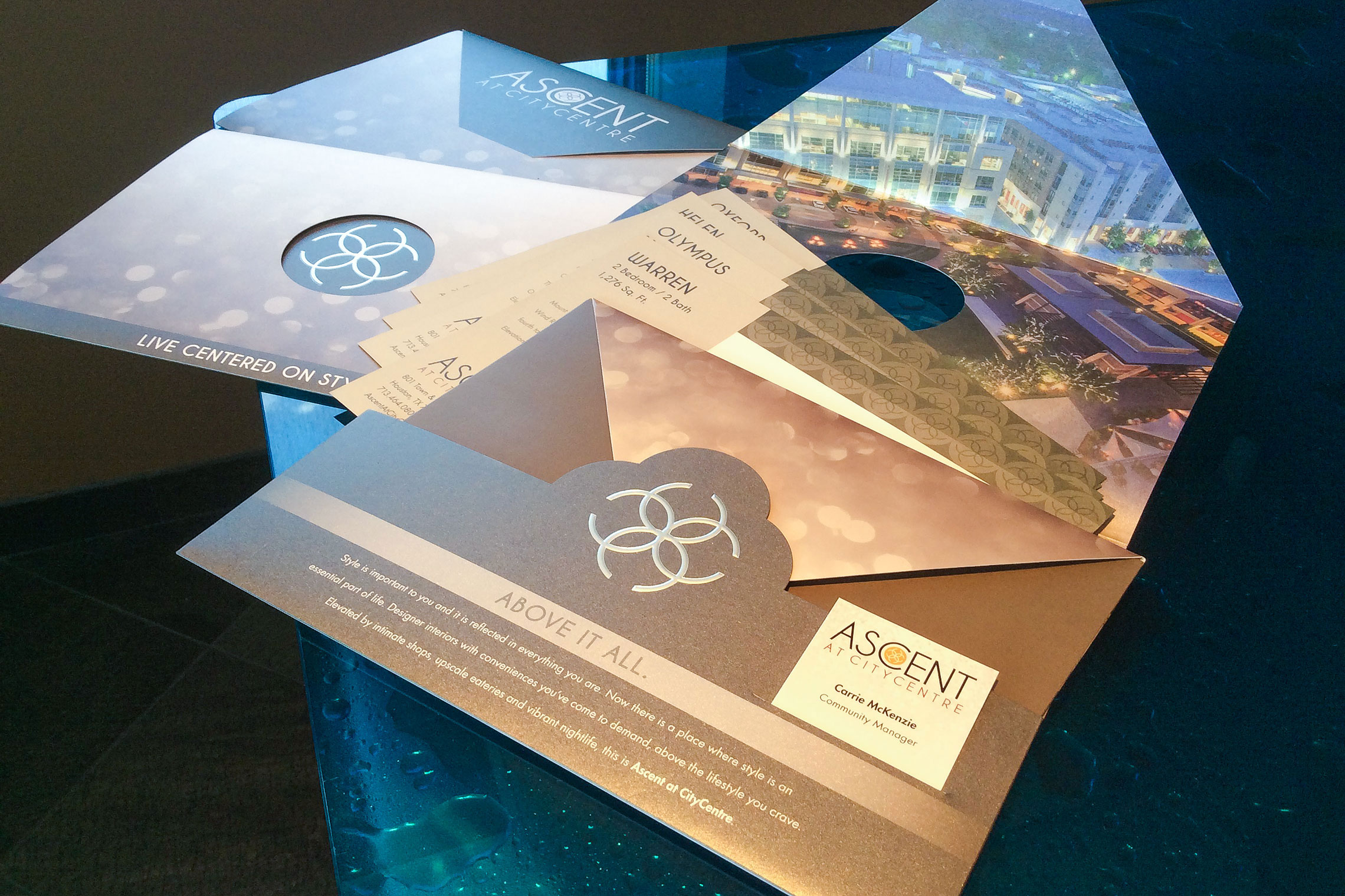 Ascent at CITYCENTRE Collateral - Pocket Folder Brochure with Amenity Fold-Out, Floor Plan Inserts and Business Card Slit