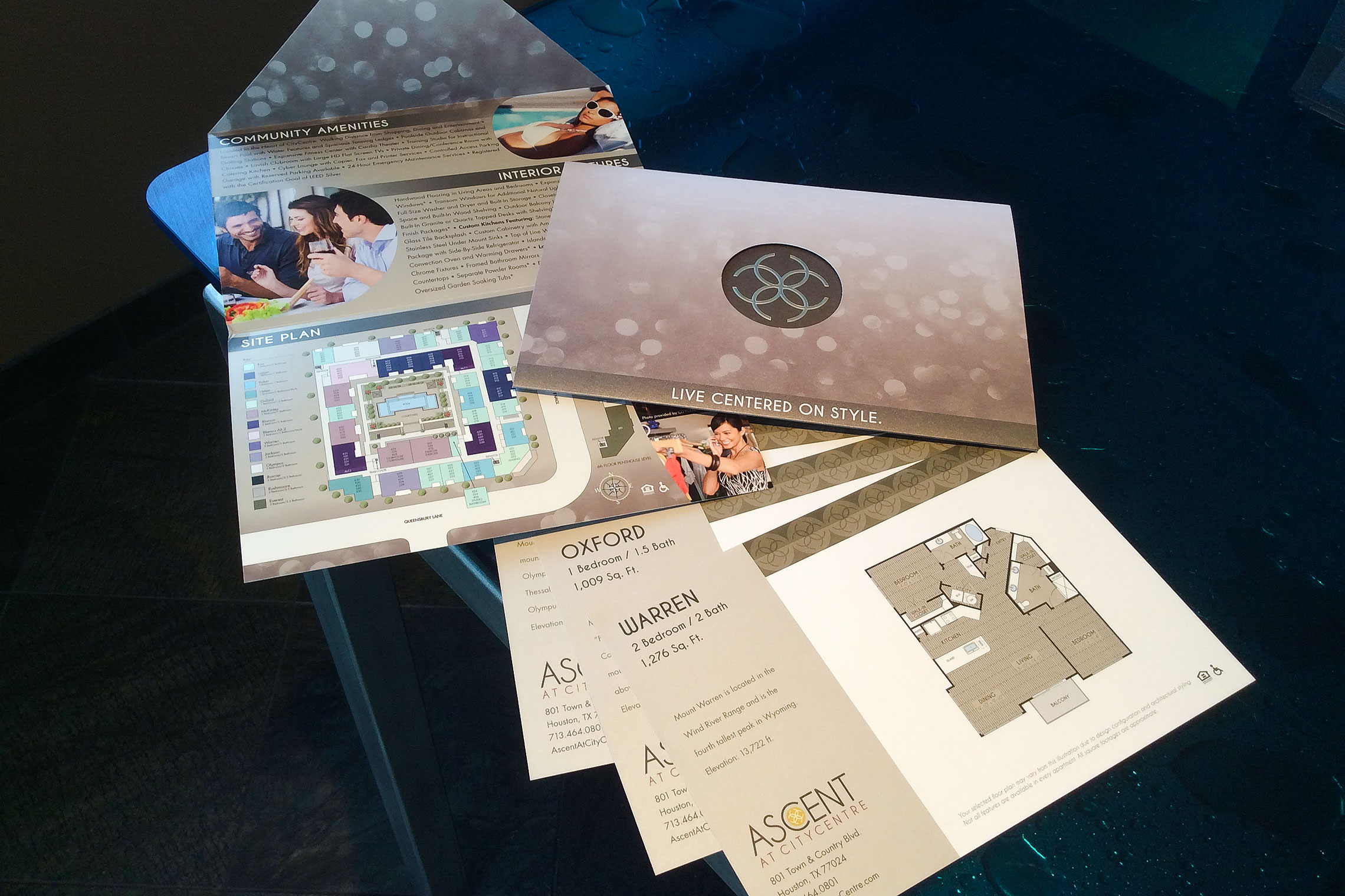 Ascent at CITYCENTRE Collateral - Pocket Folder Brochure, Amenity Fold-Out and Floor Plan Inserts