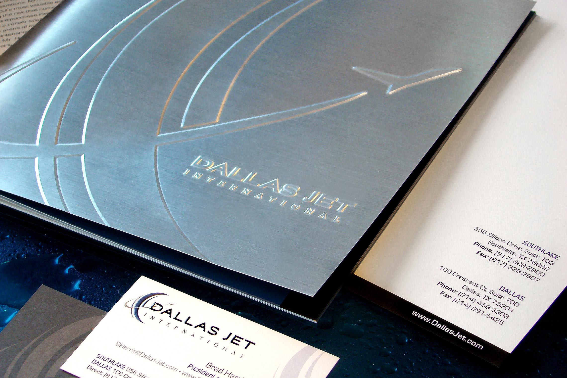 Dallas Jet International Custom Collateral - Pocket Folder Brochure, Letterhead and Business Card