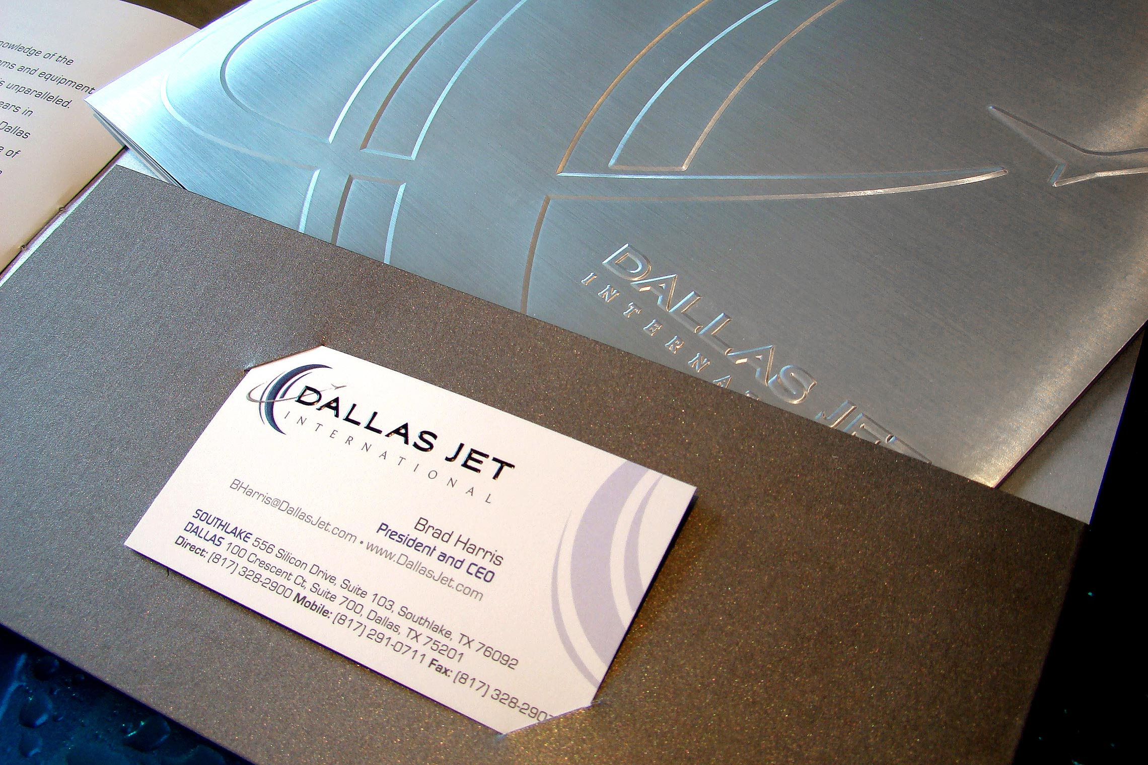 Dallas Jet International Custom Collateral - Brochure Pocket Detail with Business Card Slit