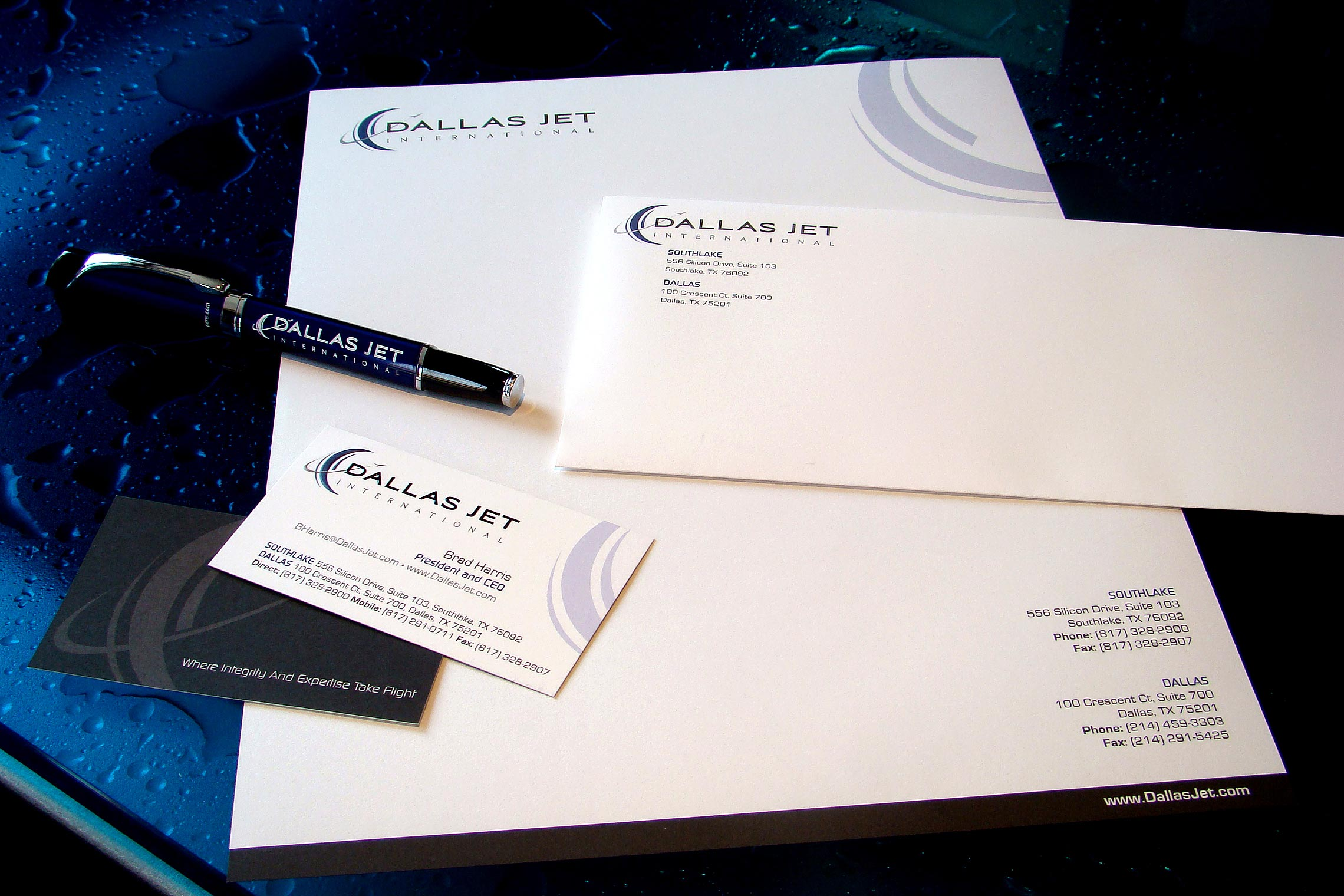 Dallas Jet International Business Identity Stationary Set - Pen, Business Card, Letterhead and Envelope