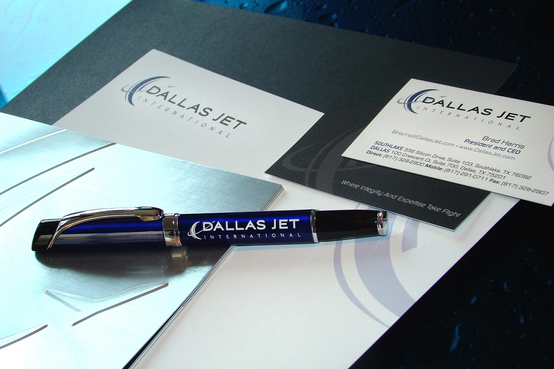 Dallas Jet International Custom Collateral - Brochure, Pen, Business Card and Letterhead