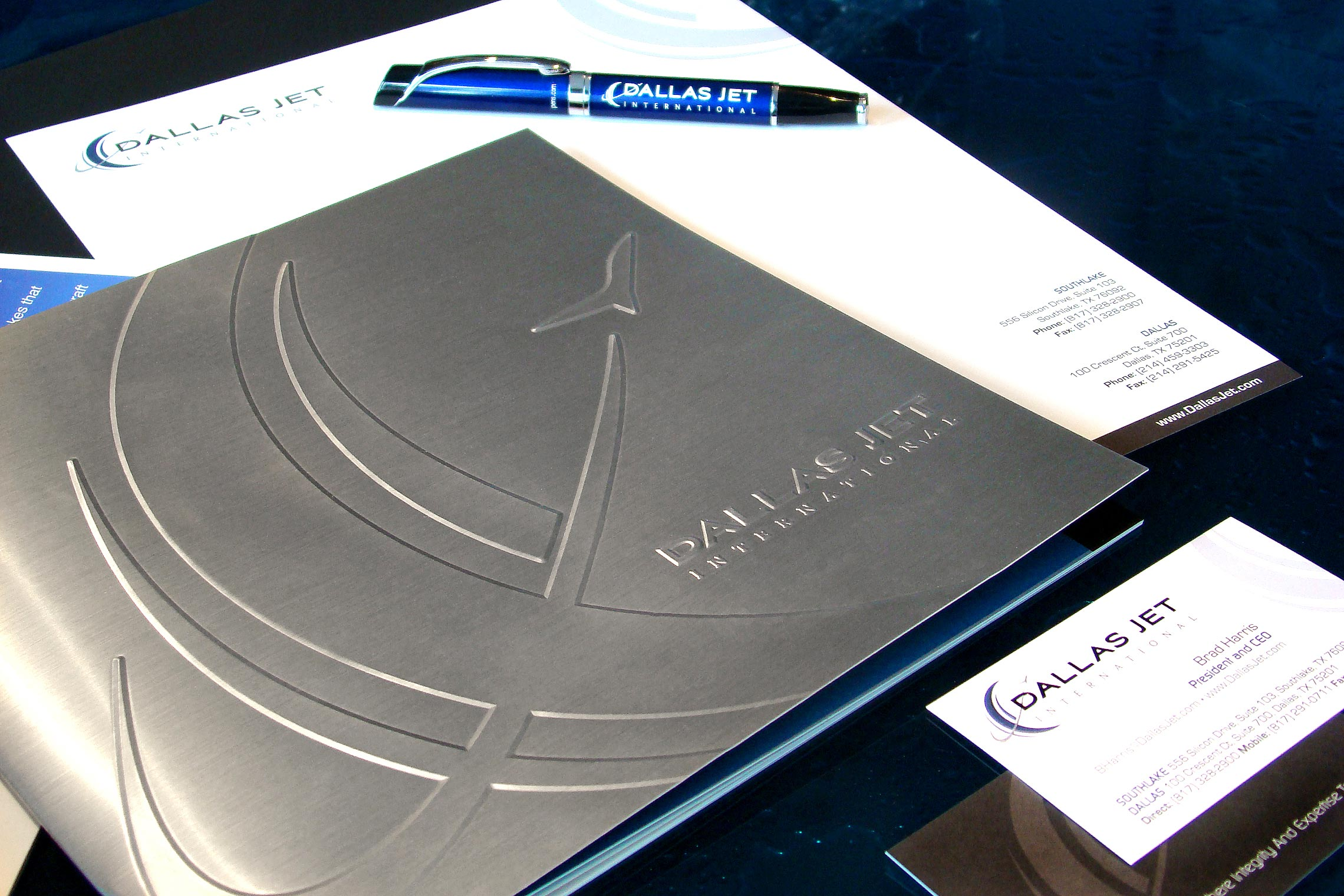 Dallas Jet International Custom Collateral - Brochure, Letterhead, Business Card and Pen