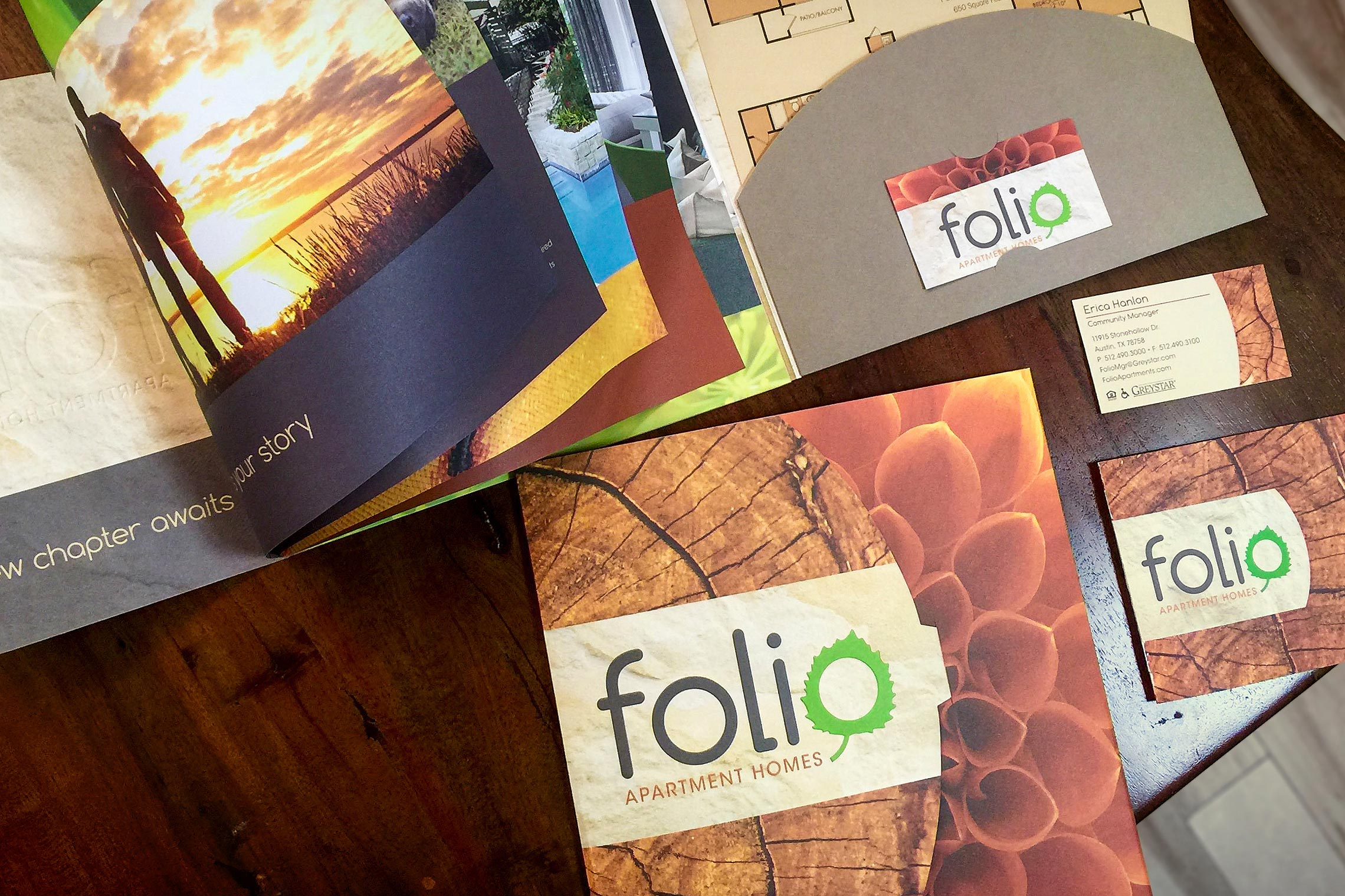 Folio Apartment Homes Custom Collateral - Pocket Folder Brochure with Floor Plan Inserts and Business Card Slit