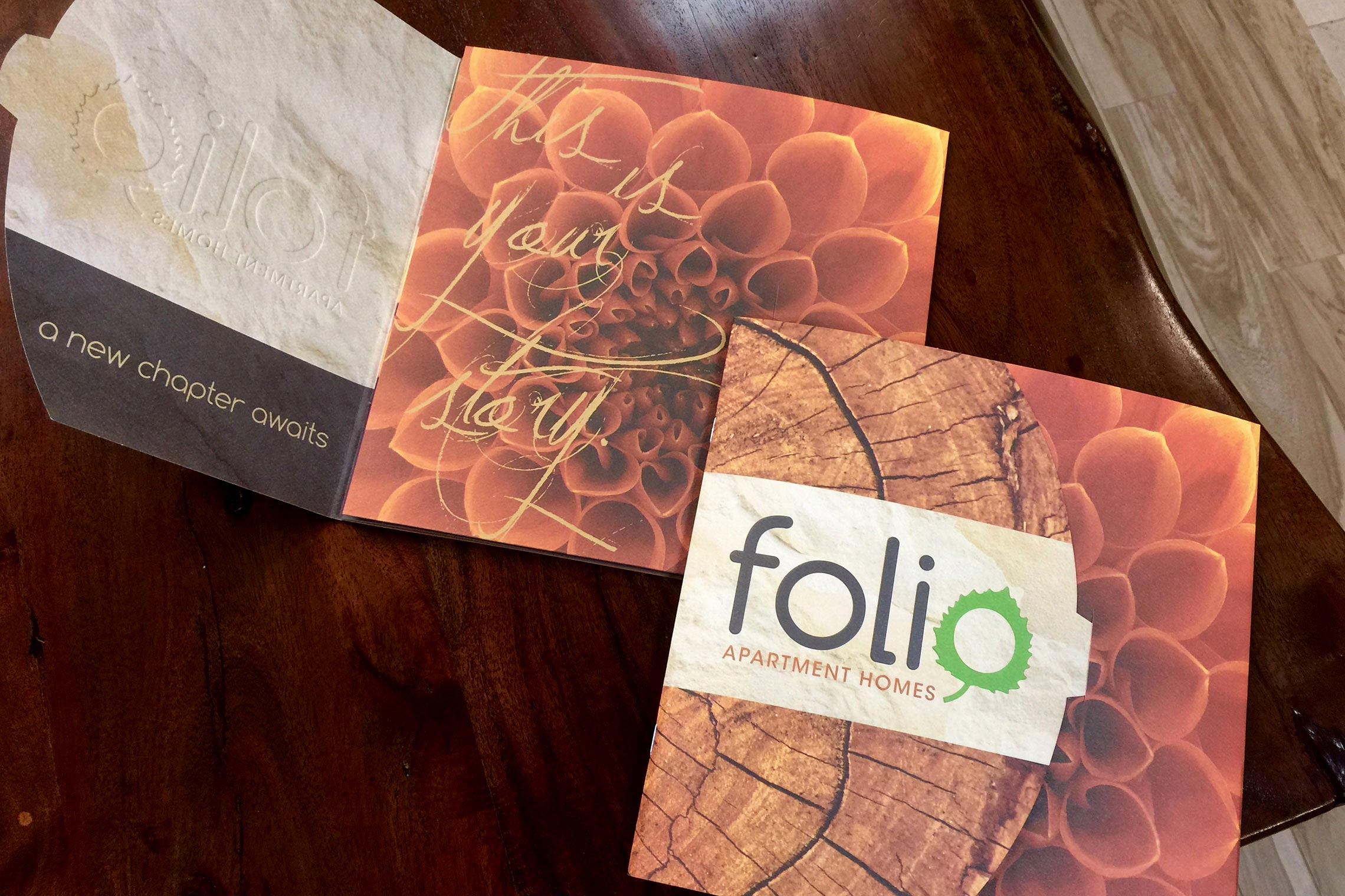 Folio Apartment Homes Custom Collateral - Brochure Cover and Inside Spread