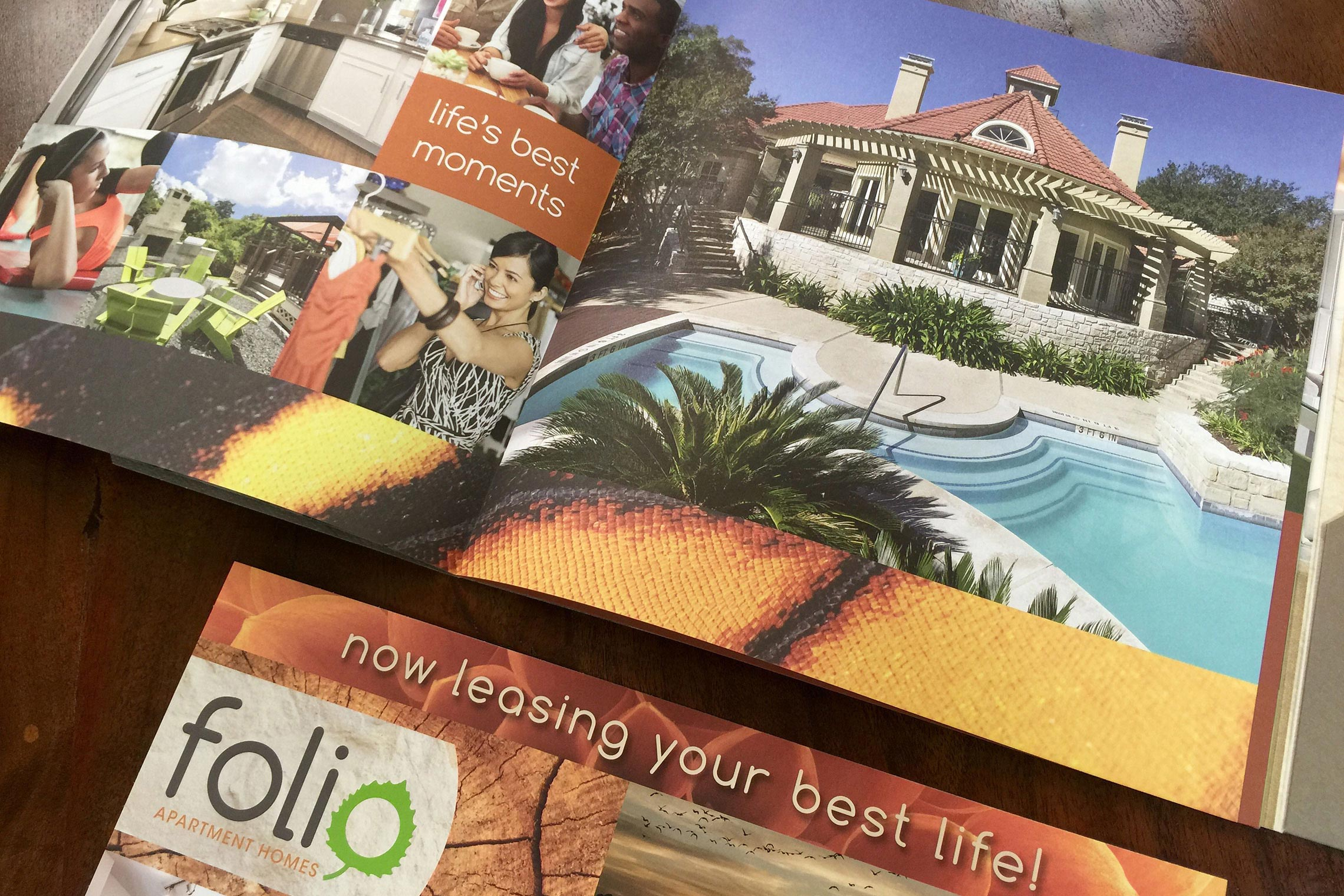 Folio Apartment Homes Custom Collateral - Brochure Spread and Postcard