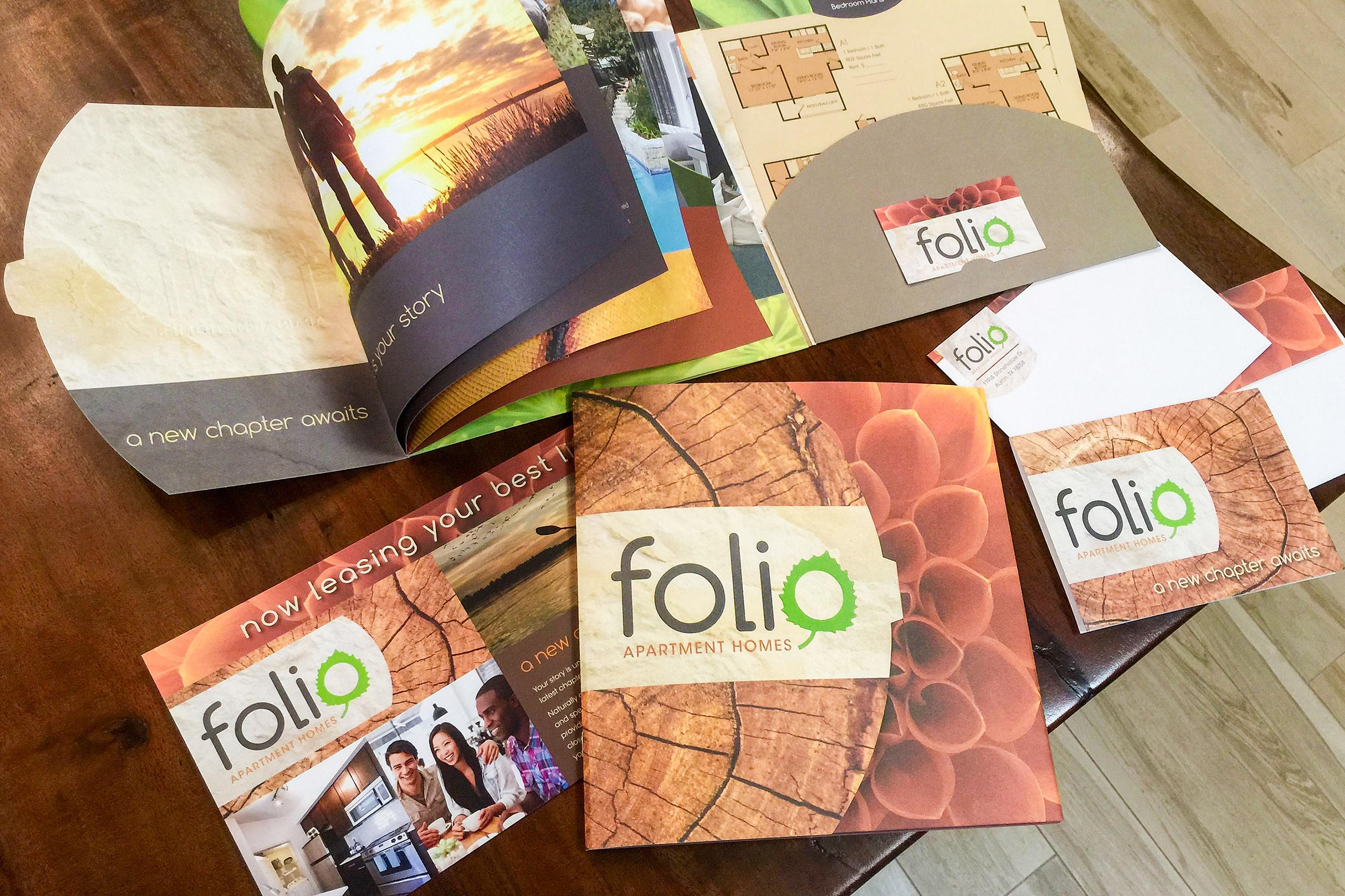 Folio Apartment Homes Custom Collateral - Brochure with Floor Plan Inserts and Business Card Slit, Postcard, Thank You Card and Envelope