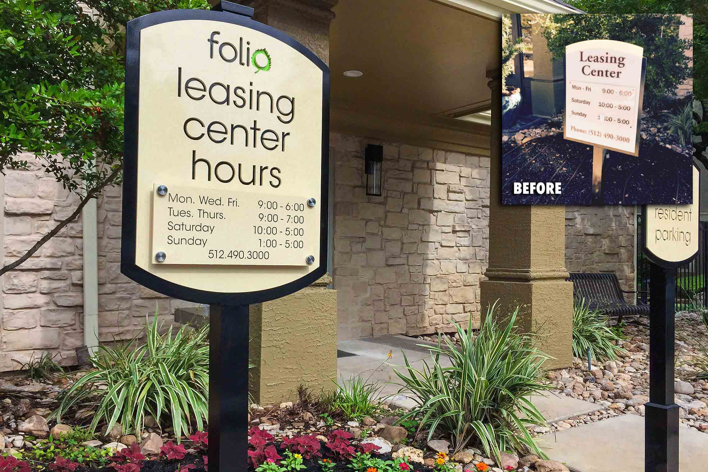 Folio Apartment Homes Leasing Center Hours with Stand-Offs and Future Resident Parking Sign on Post