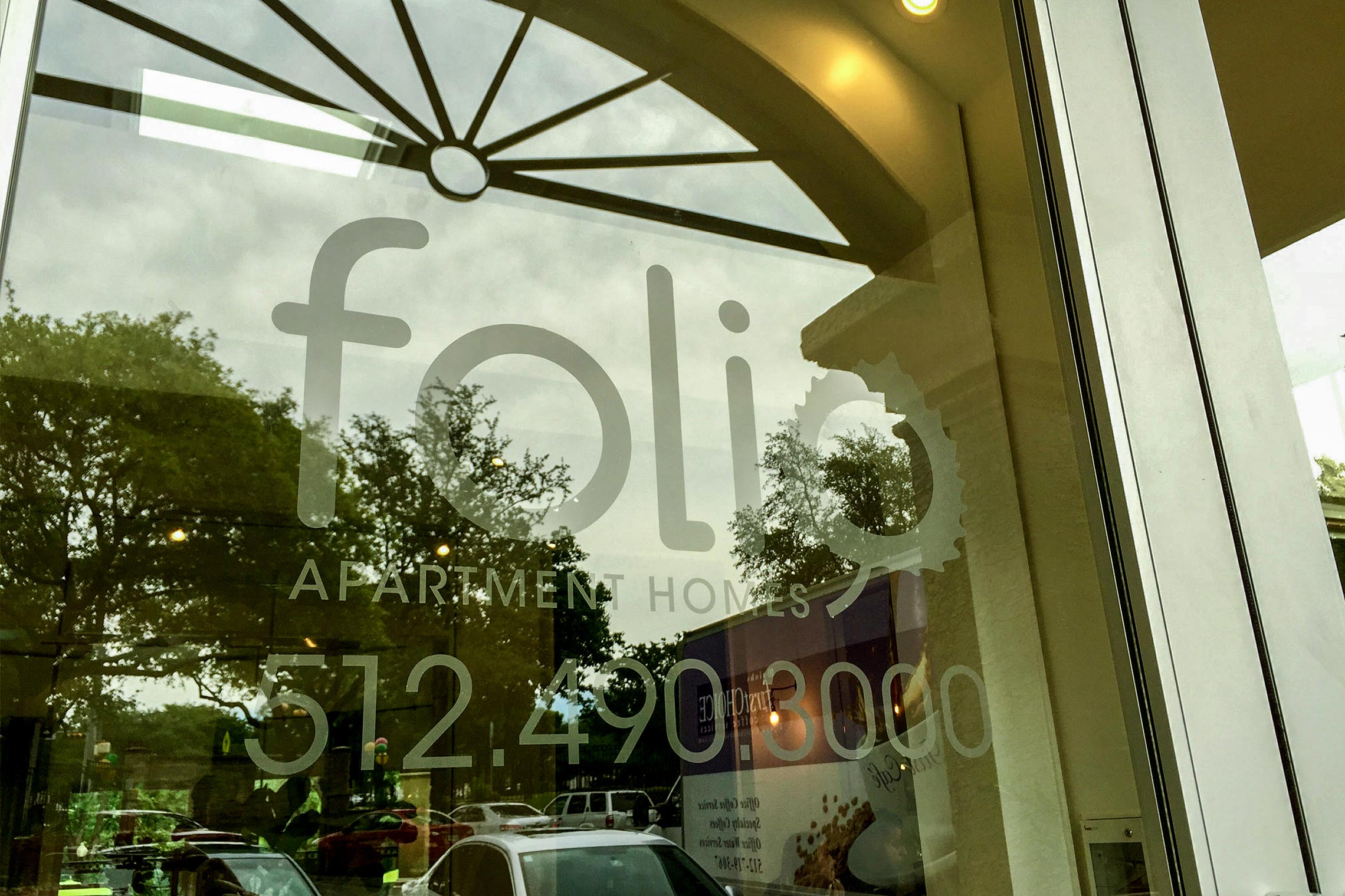 Folio Apartment Homes Logo and Phone Number Frosted Vinyl on Window
