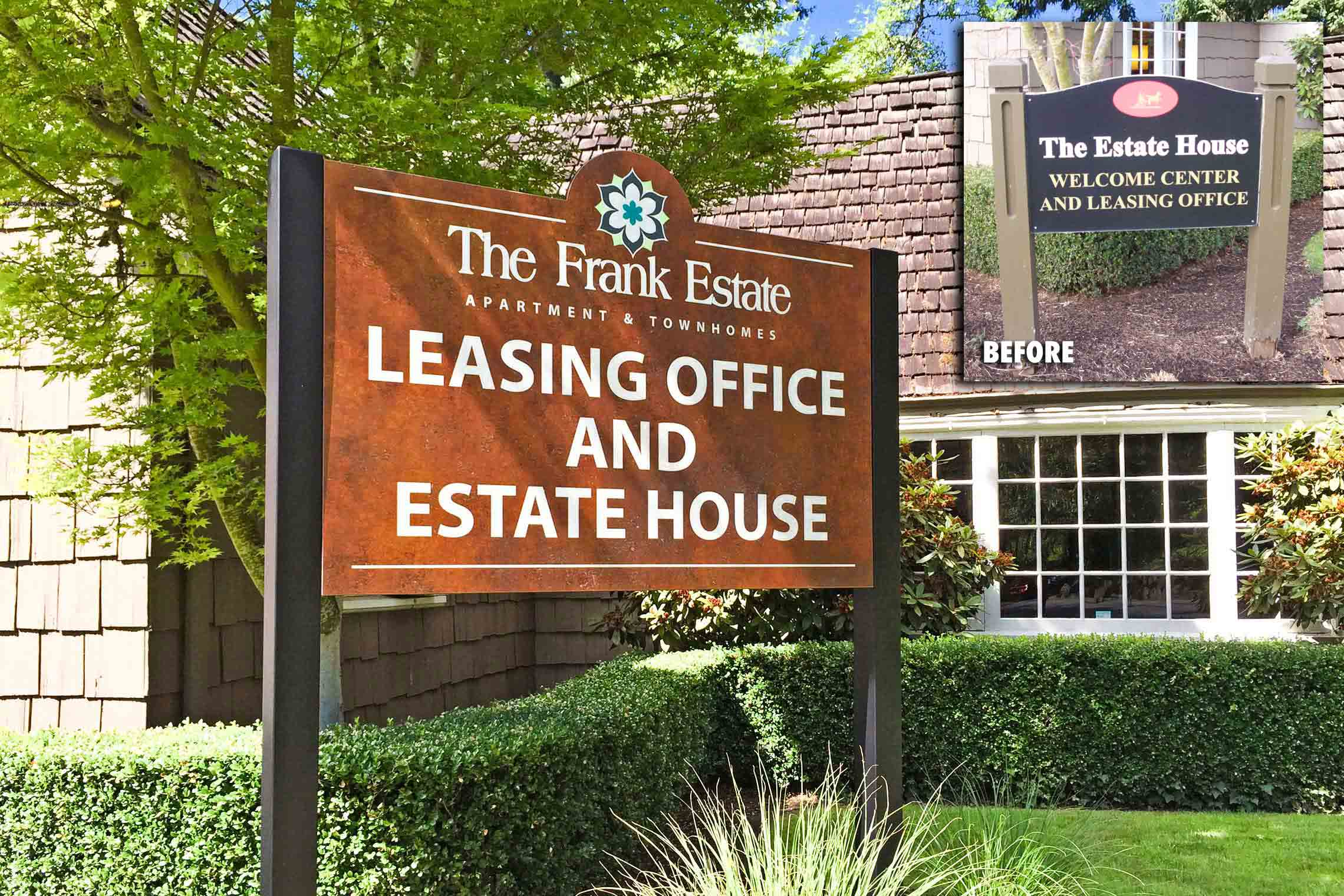 The Frank Estate Apartment & Townhomes Leasing Office and Estate House ID on Post