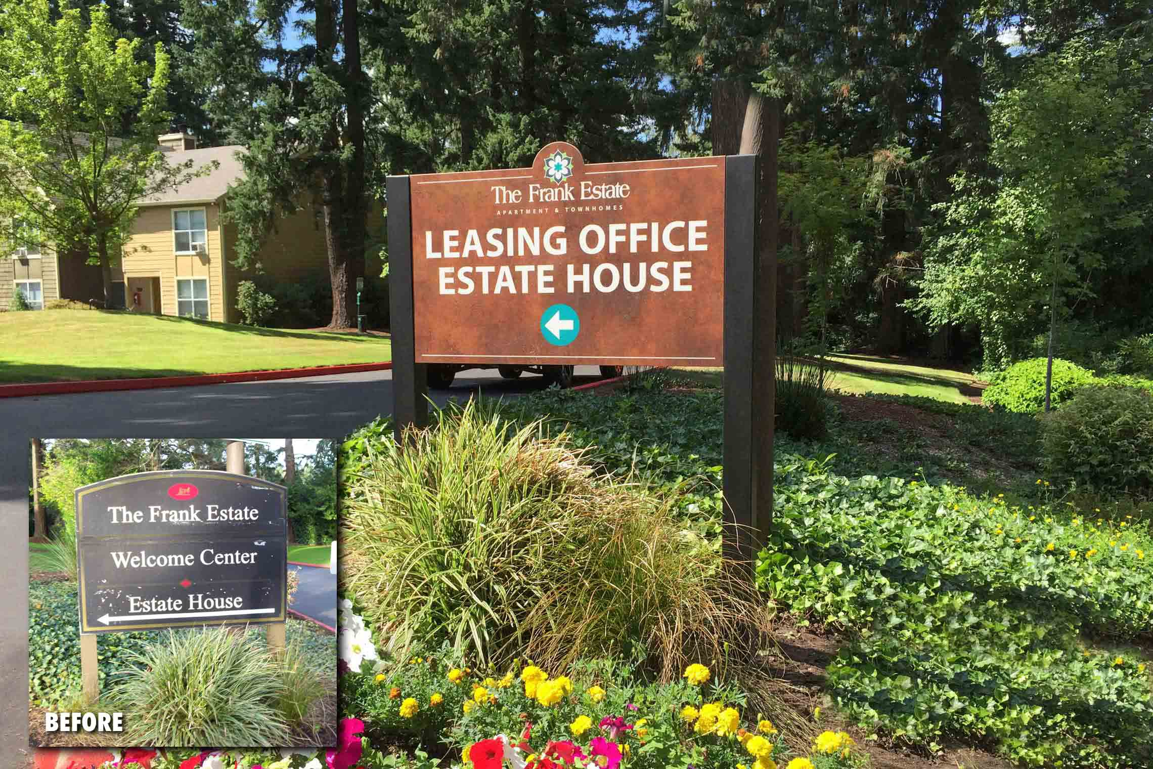 The Frank Estate Apartment & Townhomes Leasing Office Estate House Directional on Post