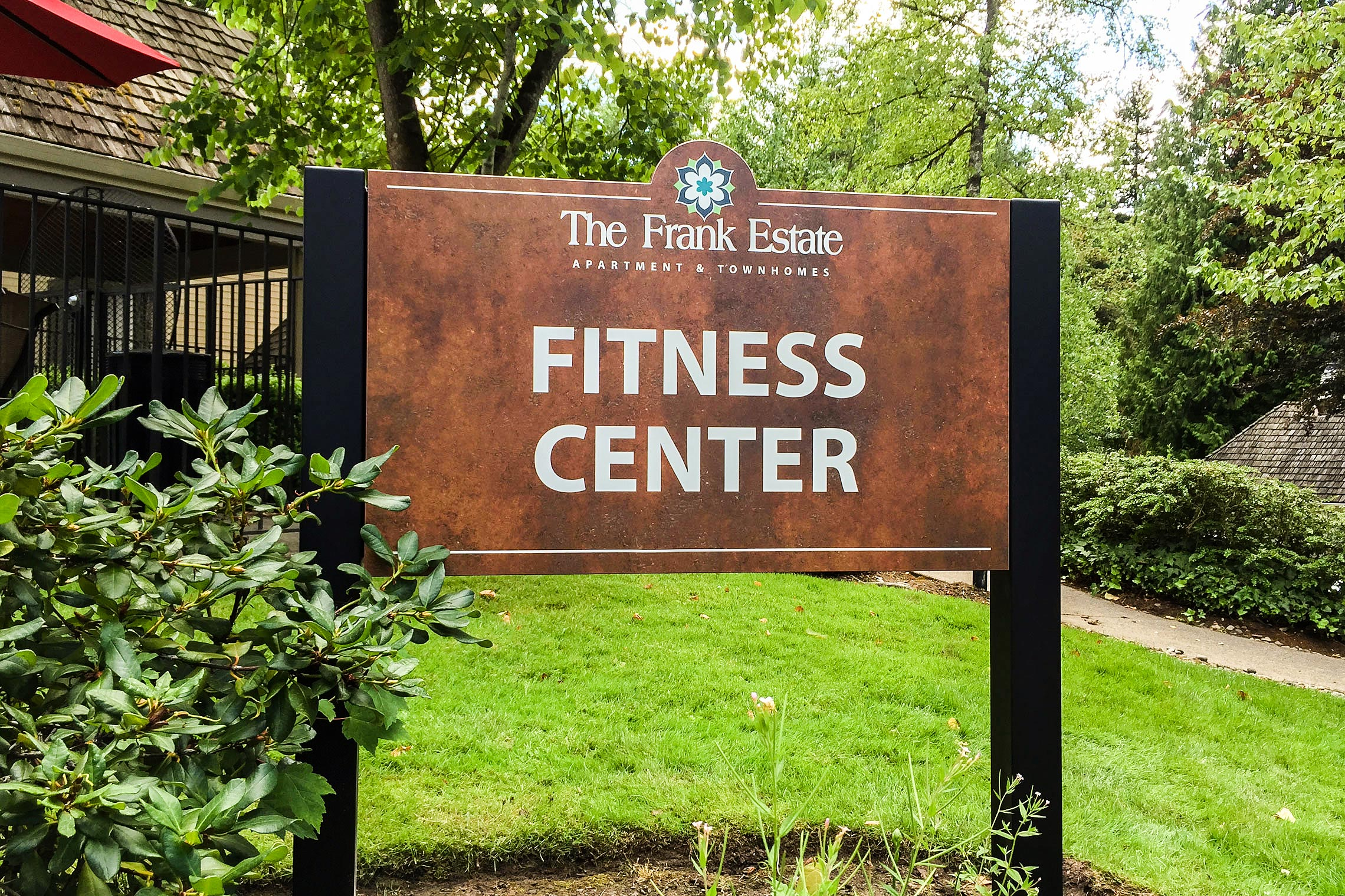 The Frank Estate Apartment & Townhomes Fitness Center ID on Post