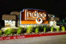 Indigo Apartments LED Illuminated Monument at Night
