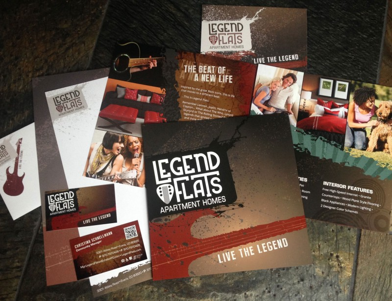 Legend Flats Apartment Homes Z-Fold Brochure, Stationary, Thank You Card and Post Card