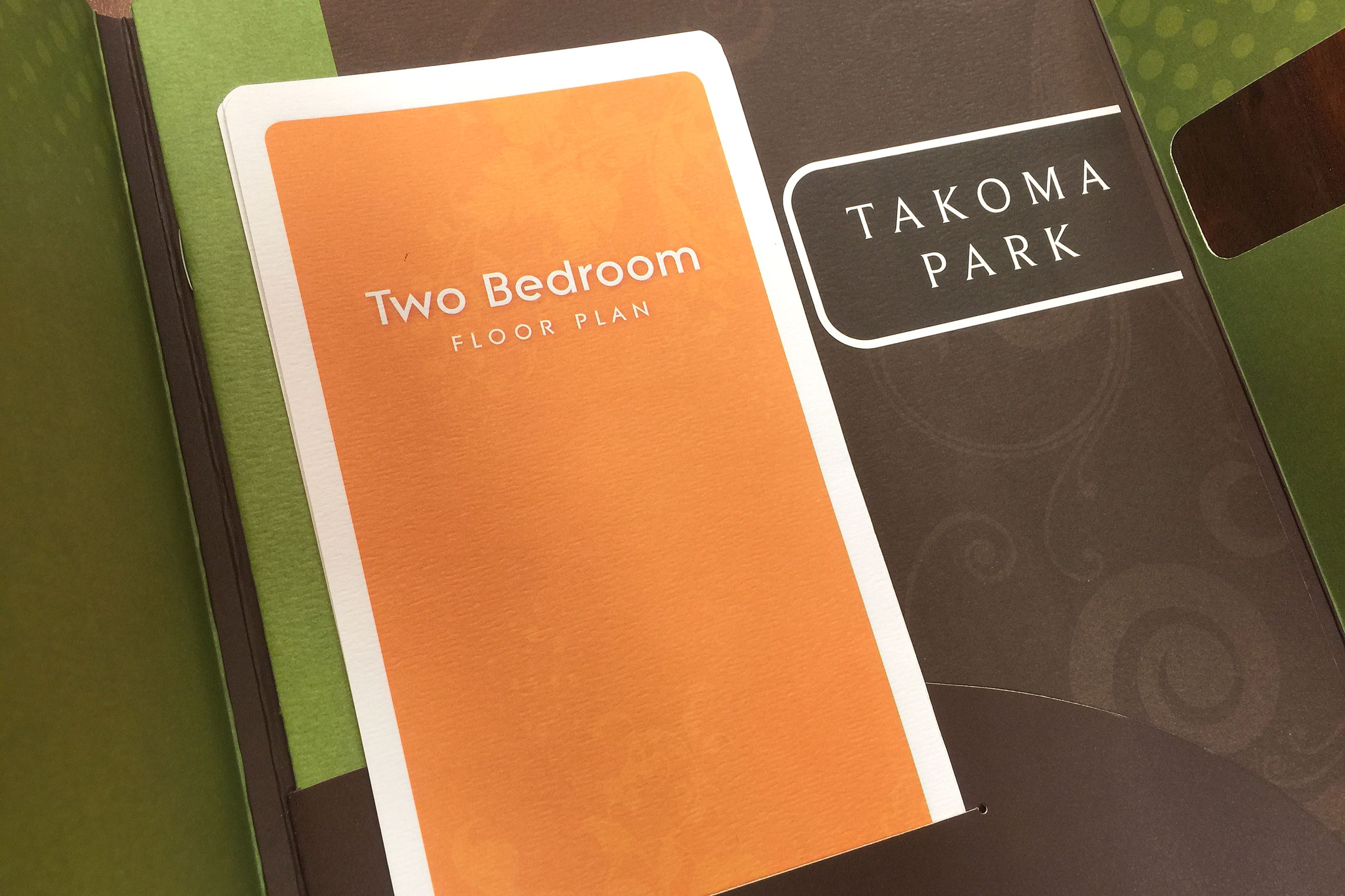 Gables Takoma Park Collateral - Floor Plan Inserts in Pocket Folder Brochure
