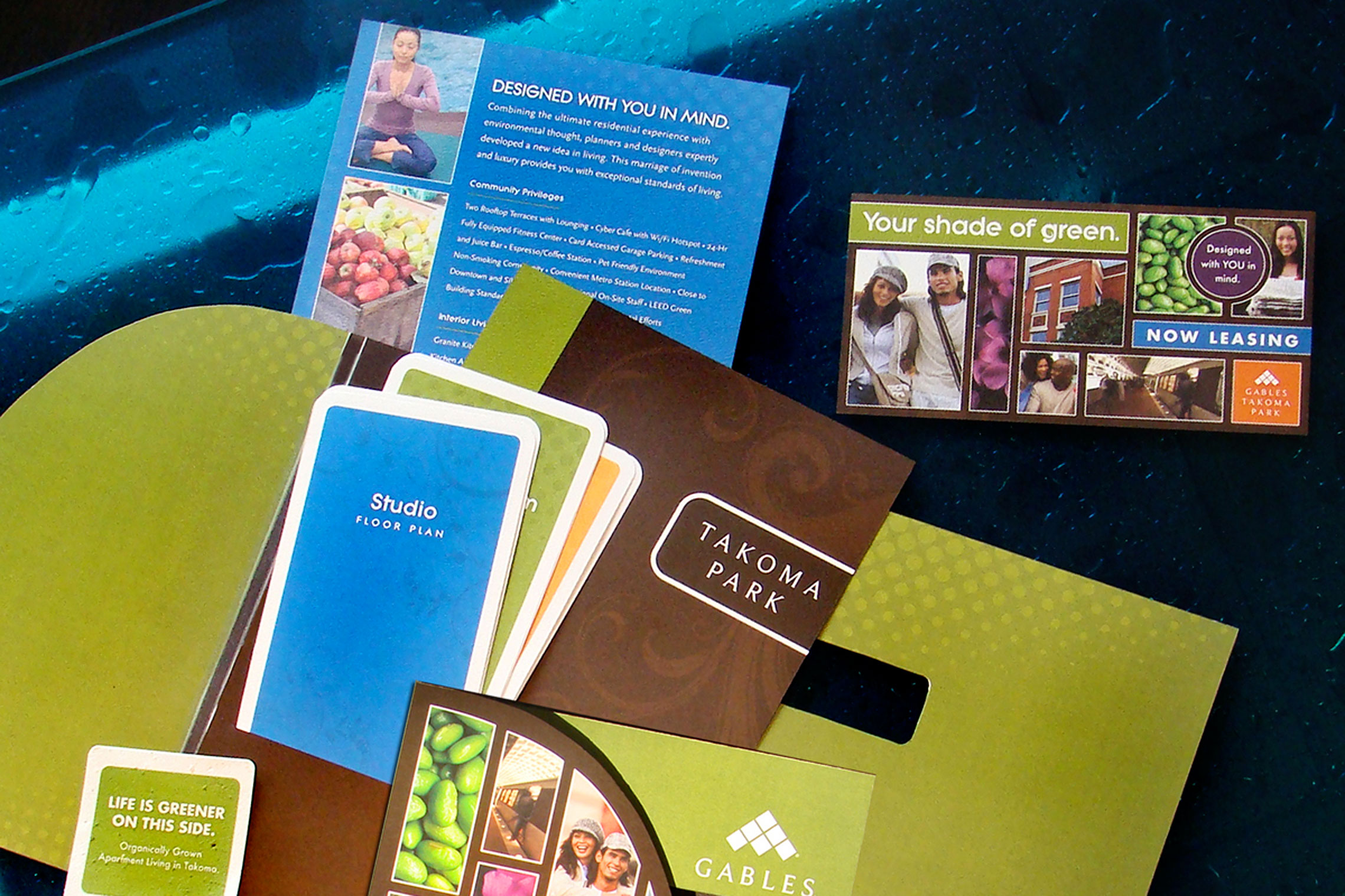 Gables Takoma Park Collateral - Pocket Folder Brochure, Floor Plan Inserts, Postcard and Seed Card
