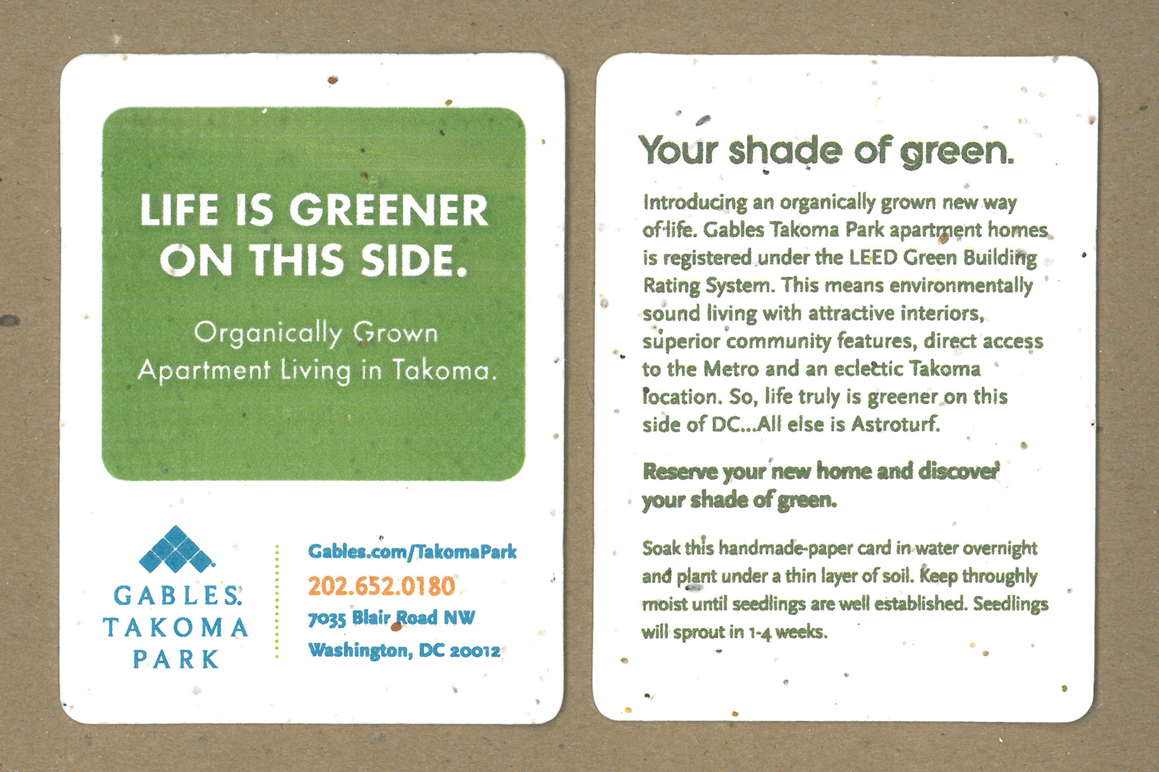 Gables Takoma Park Collateral - Marketing Seed Card