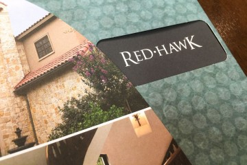 Red Hawk Pocket Folder Brochure Window Opening