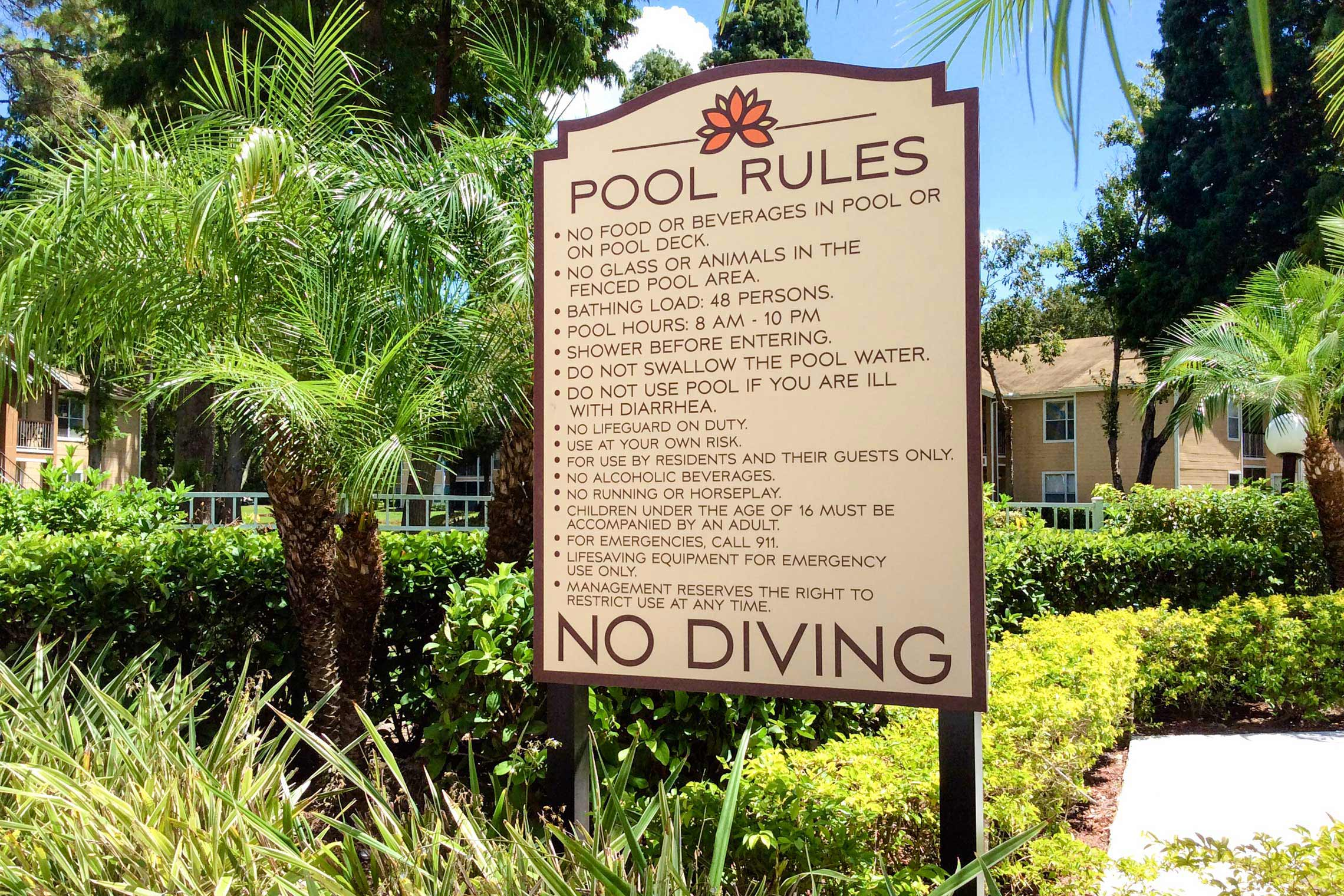 Retreat at Crosstown Apartment Homes Swimming Pool Rules on Post