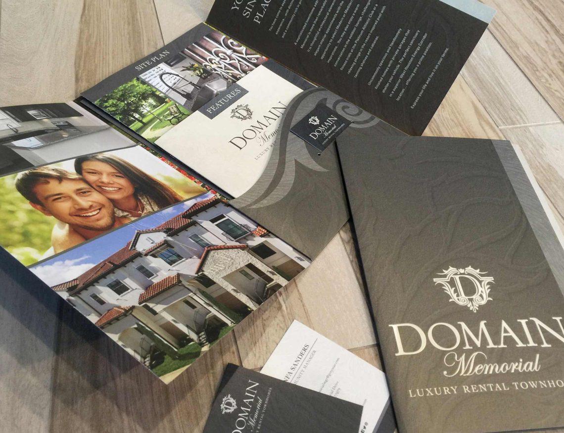Domain Memorial Luxury Rental Townhomes - Elegant Pocket Folder Brochure Design with Floor Plan Inserts and Business Card