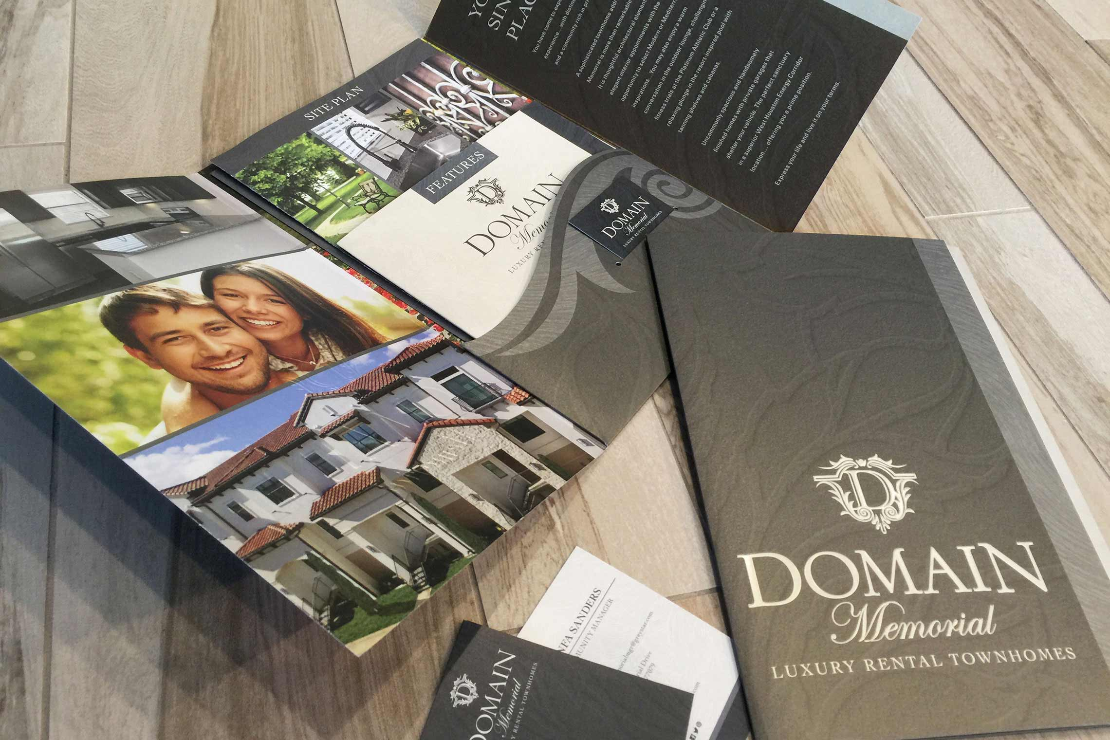 Domain Memorial Luxury Rental Townhomes - Pocket Folder Brochure with Floor Plan Inserts and Business Card