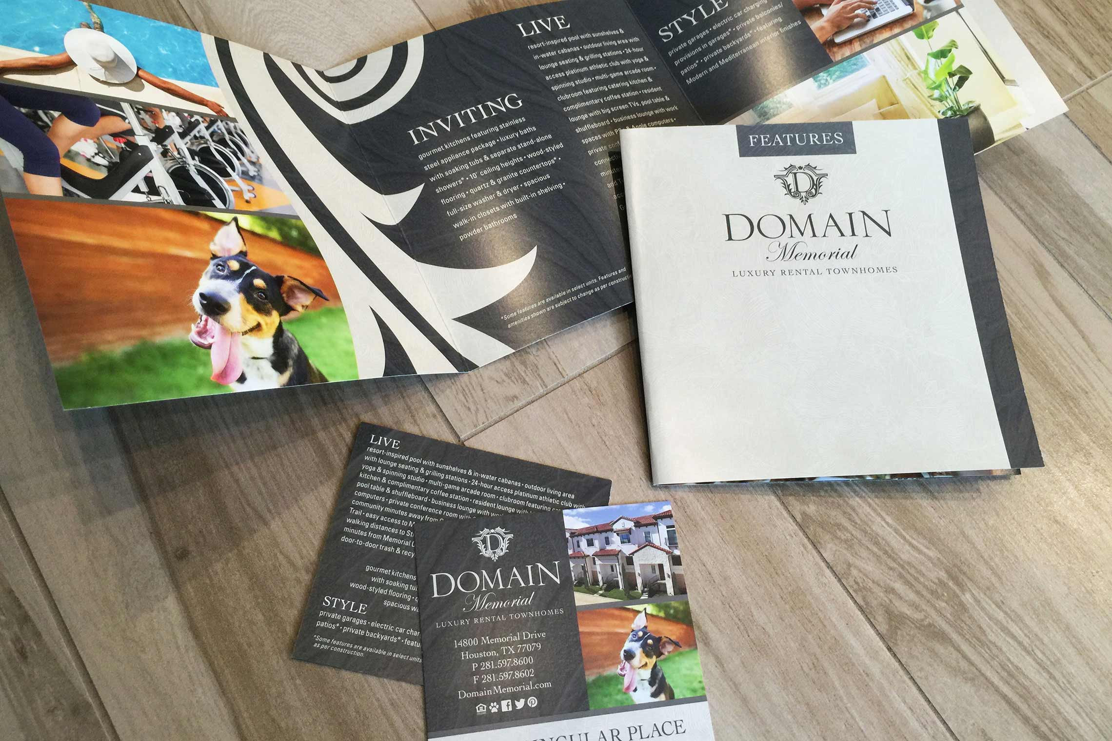 Domain Memorial Luxury Rental Townhomes - Amenity Fold-Out and Promo Card