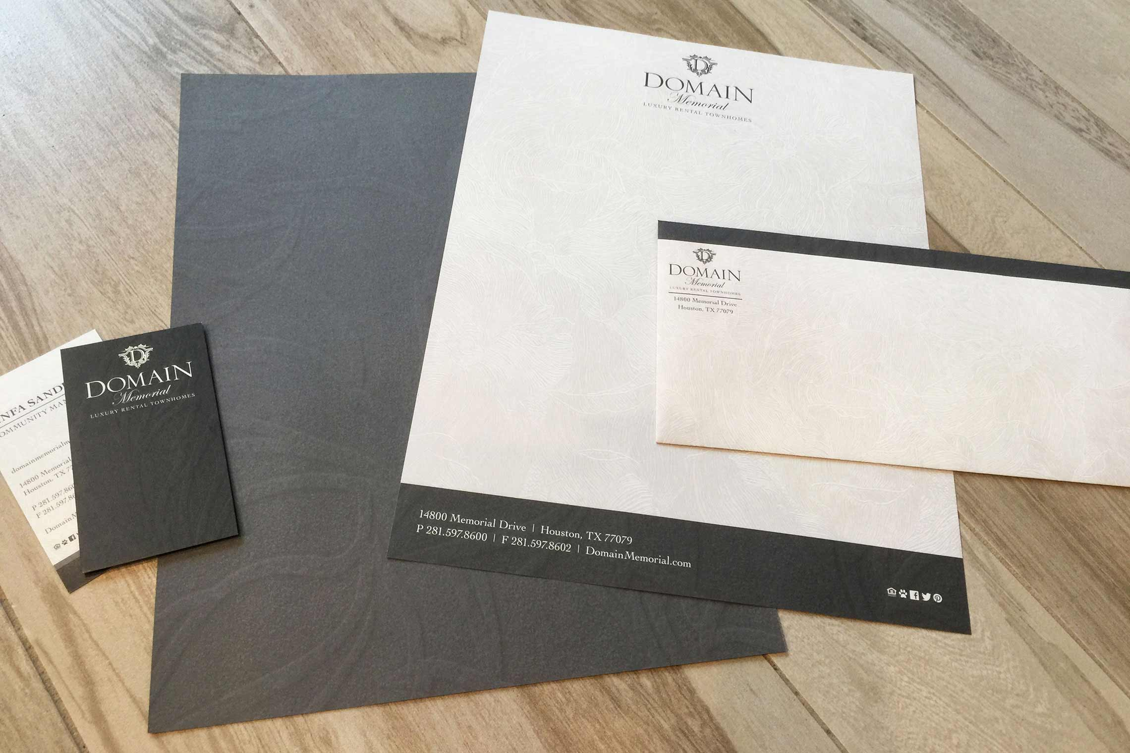 Domain Memorial Luxury Rental Townhomes - Business Card, Letterhead and Envelope