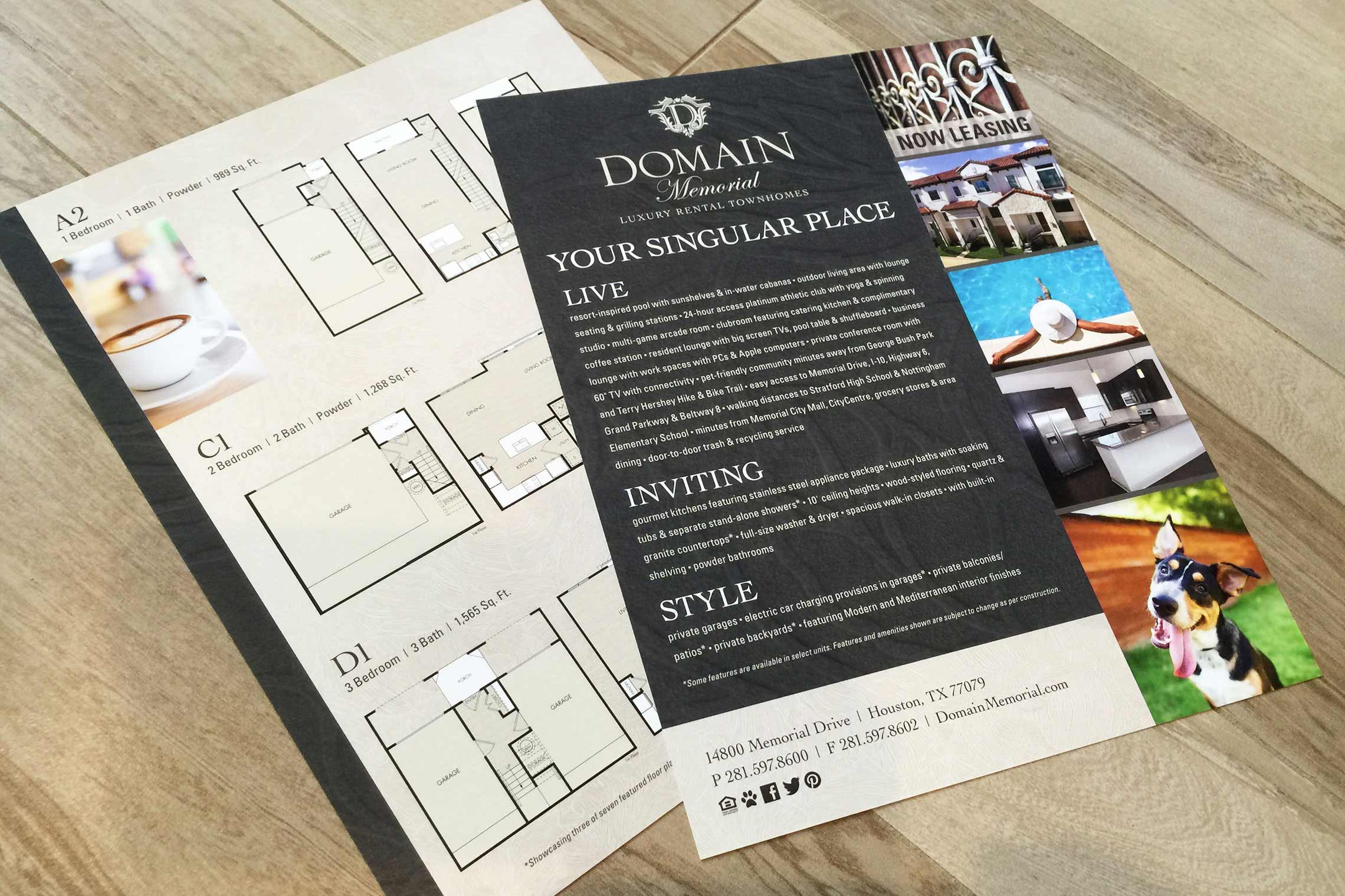 Domain Memorial Luxury Rental Townhomes - Flyer Front and Back