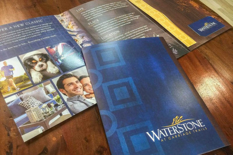 WaterStone at Carriage Trails Apartments - Brochure with Pocket Folder for Floor Plan Inserts and Business Card Slit