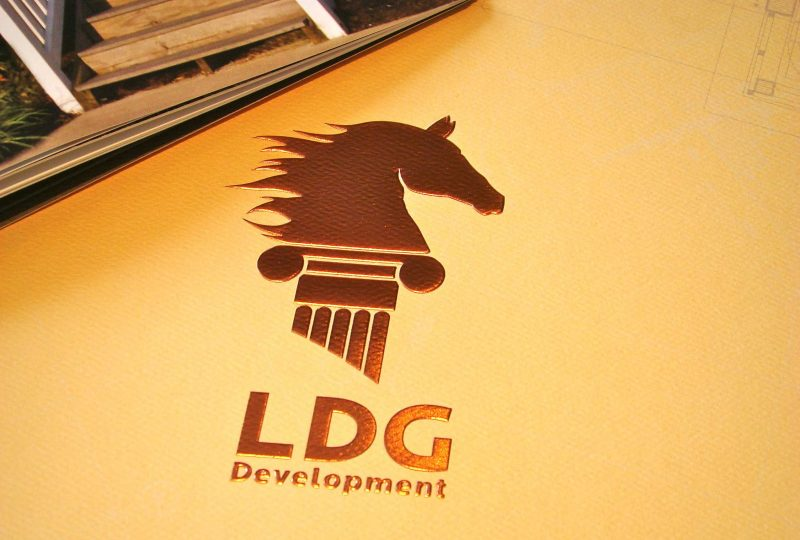 LDG Development Collateral Brochure Design Cover with Metallic Emboss