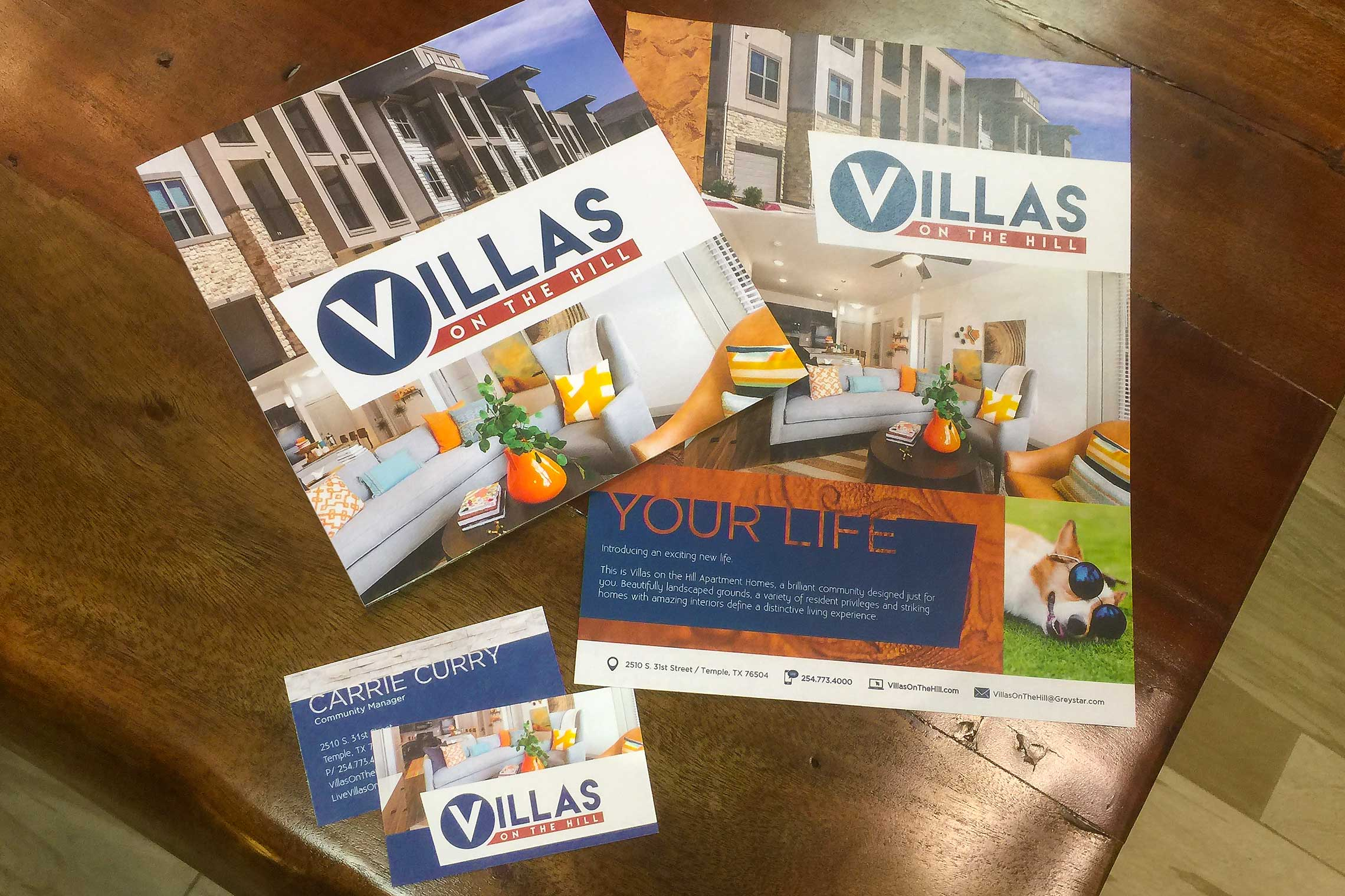 Villas on the Hill Apartments - Contemporary Brochure with Flyer and Business Card on a Budget