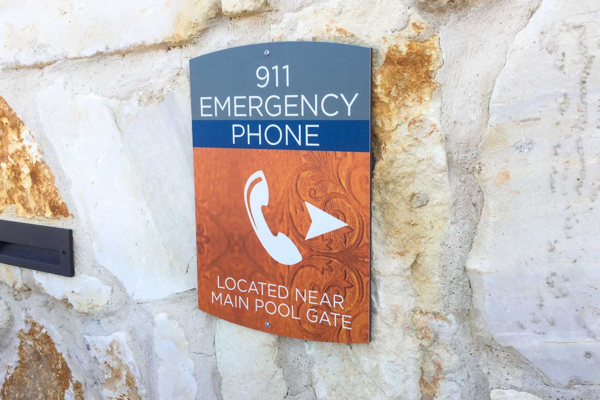 Design Sign Studio Reveal Fusion Series Signage - 911 Emergency Phone Directional by Pool