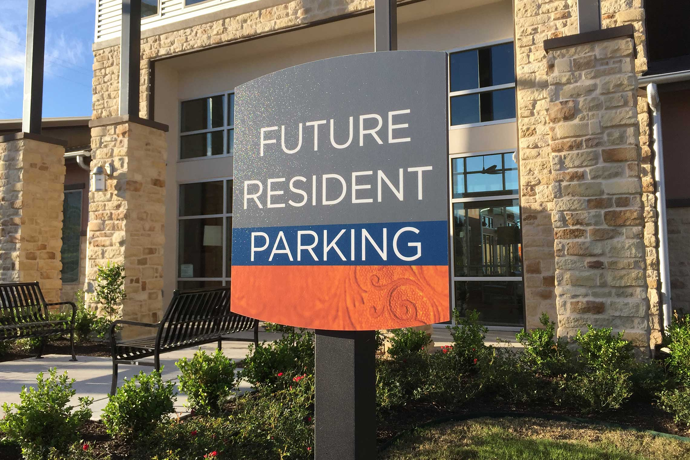 Design Sign Studio Reveal Fusion Series Signage - Future Resident Parking Sign on Post
