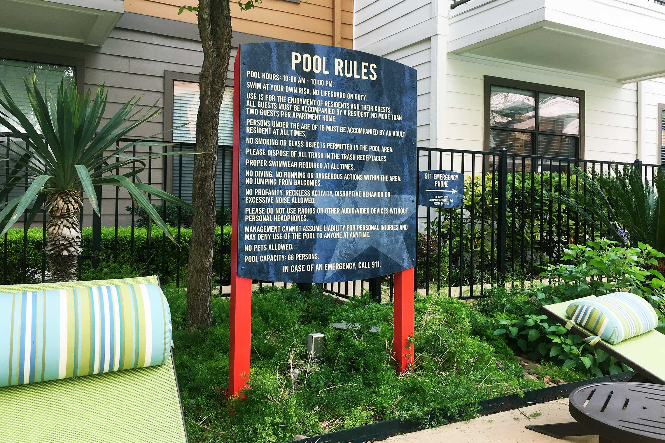 The Davis Soco Apartments Pool Rules Sign