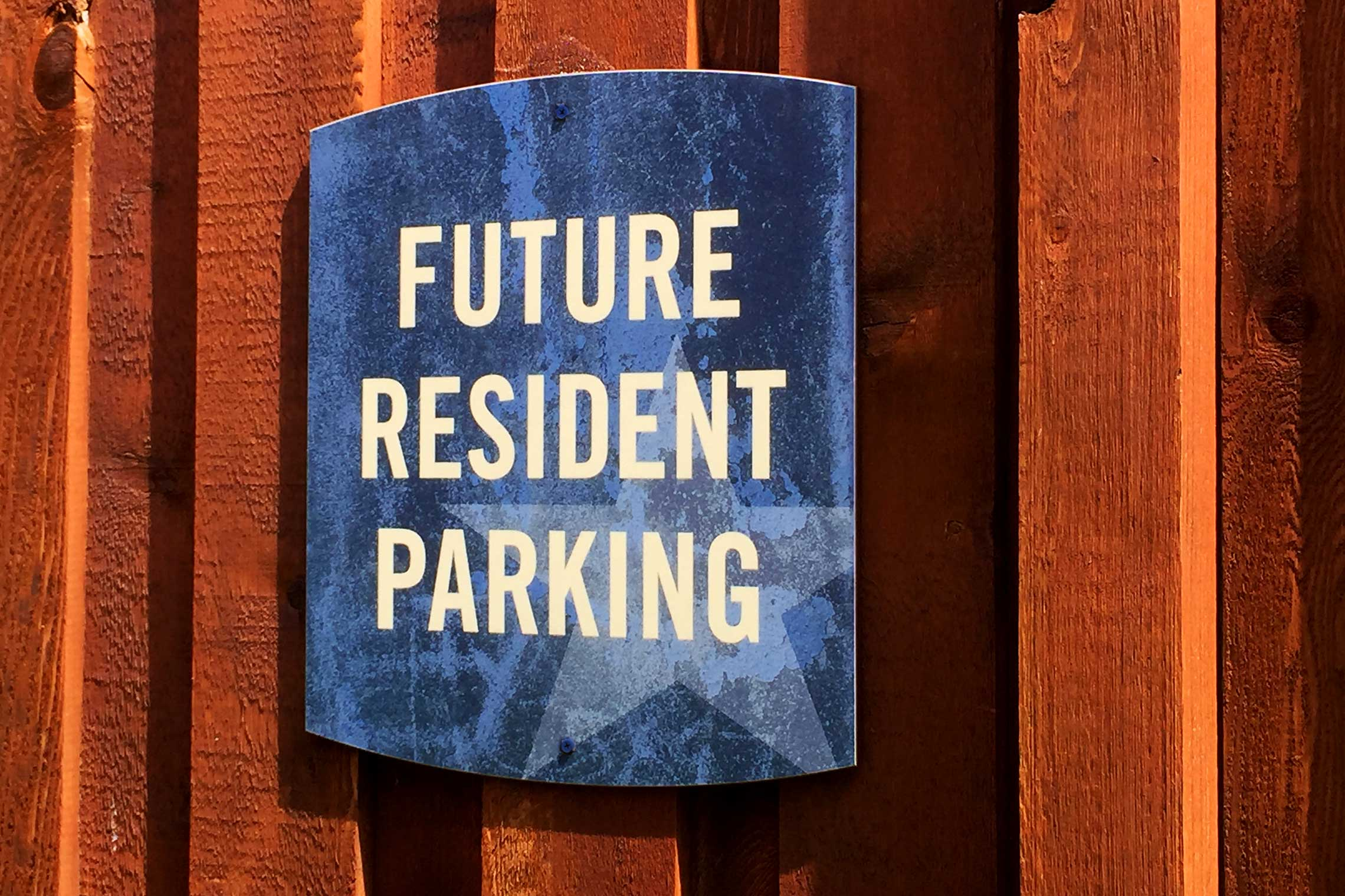 The Davis Soco Apartments Future Resident Parking Sign