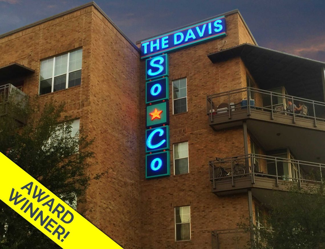 The Davis Soco Urban Industrial Illuminated Neon Wall Identity Sign