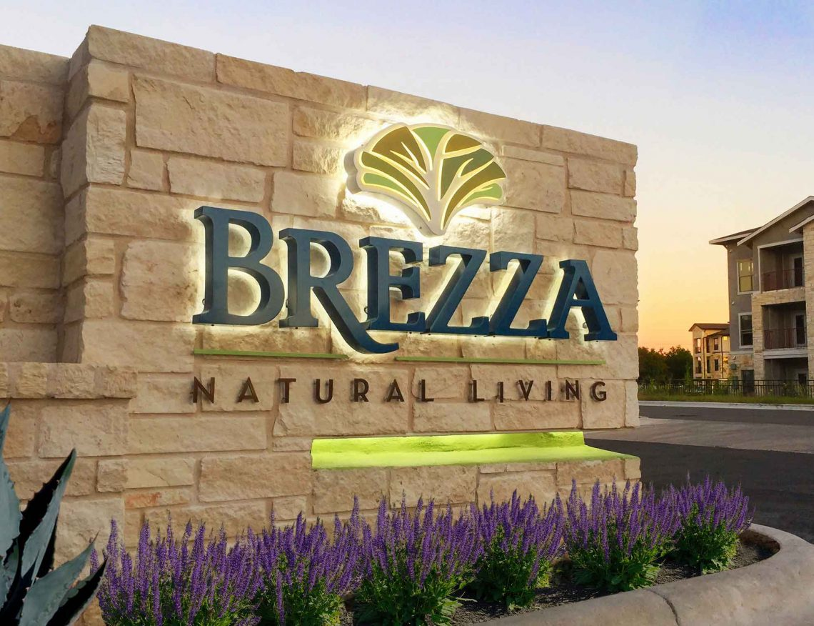 Brezza Natural Living Apartments Unique Design Reverse Channel Lit Letters onto Masonry Monument