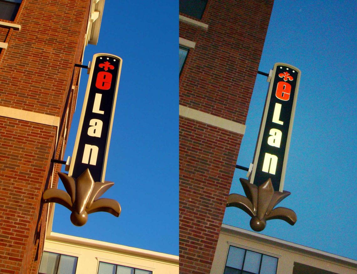 Elan at Bluffview Apartments - Unique Illuminated Blade Identity Sign